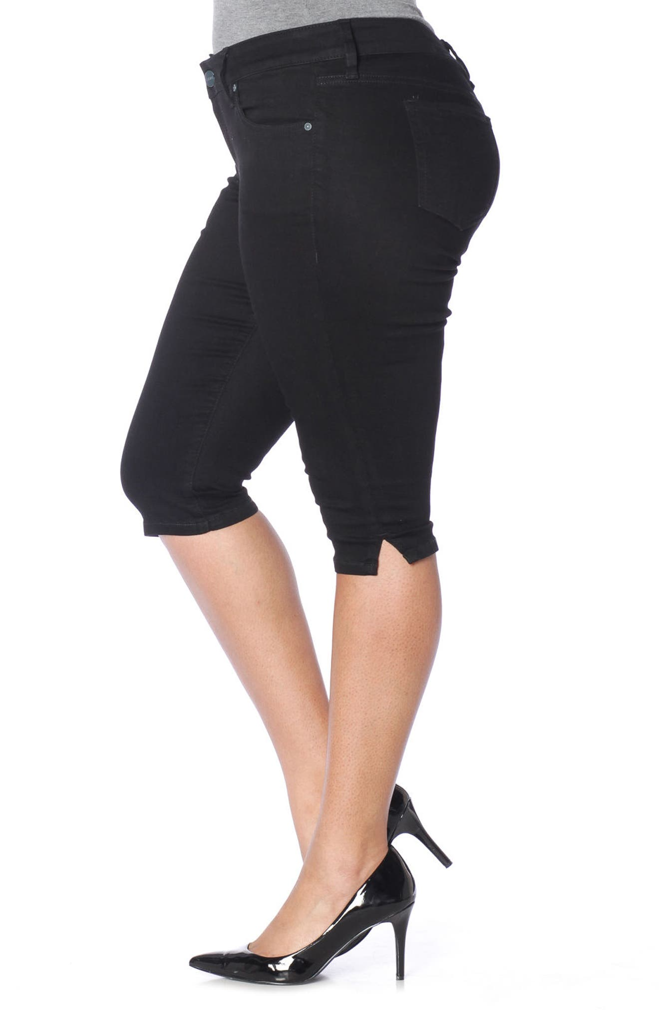 Pirate Capri Skinny Jeans,                             Alternate thumbnail 3, color,                             Black