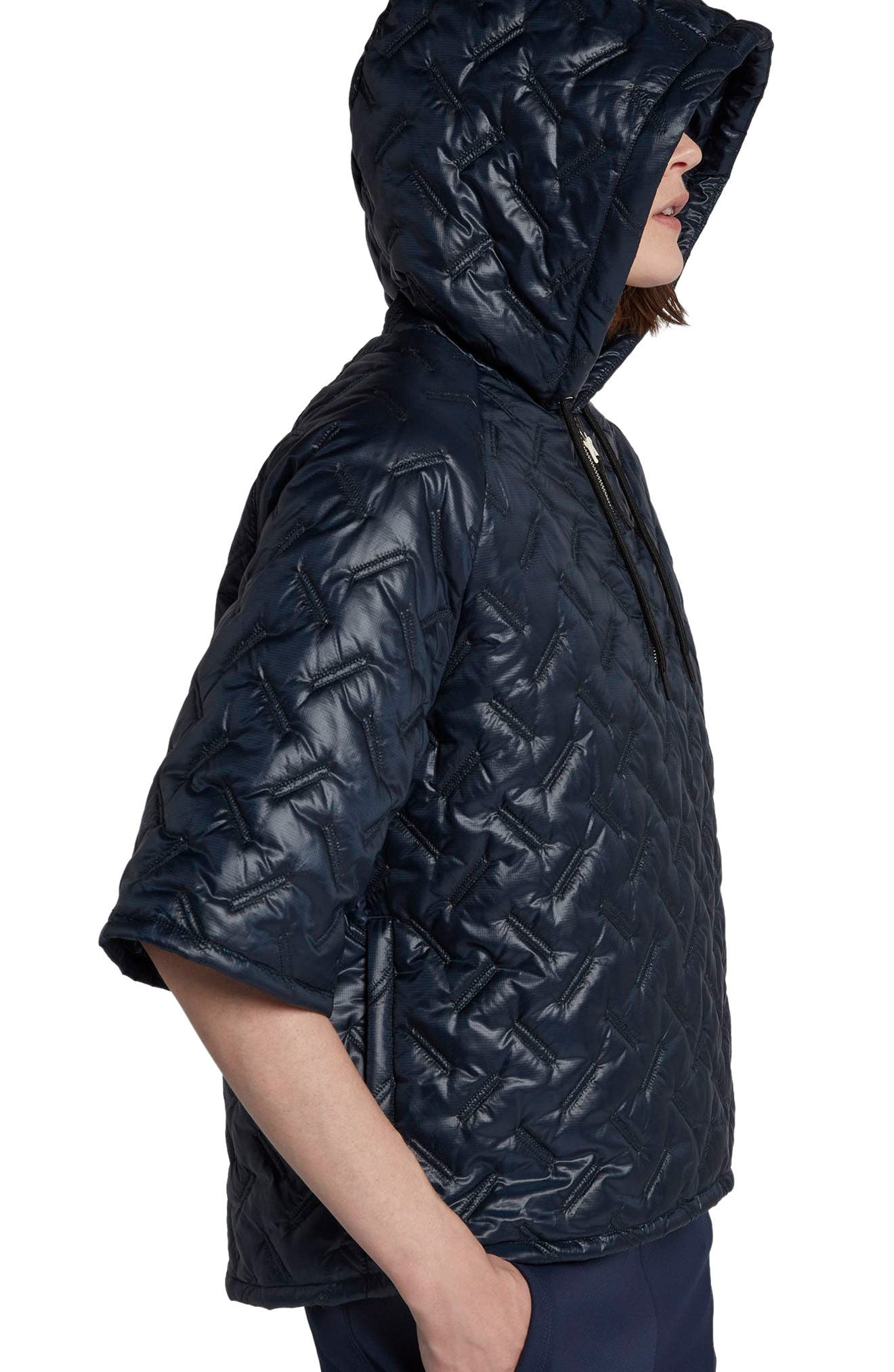 NikeLab Essentials Insulated Short Sleeve Women's Hoodie,                             Alternate thumbnail 10, color,                             Dark Obsidian/ Black