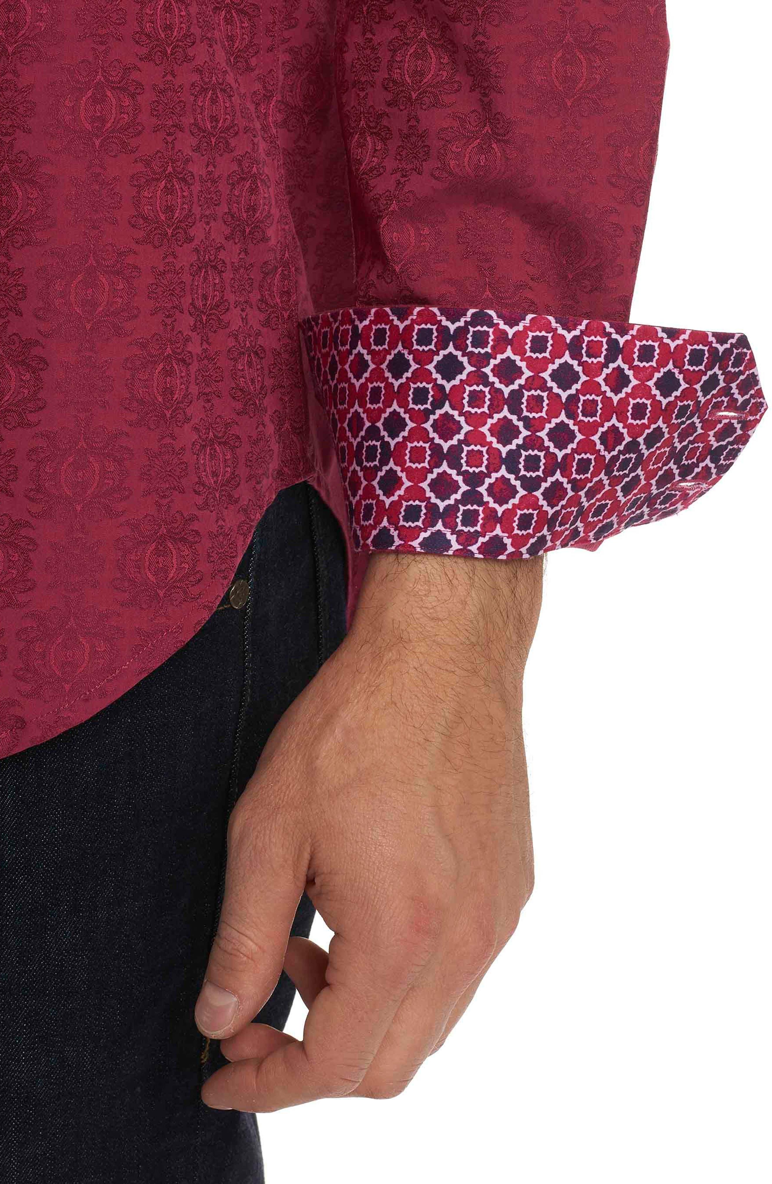 Cullen Classic Fit Jacquard Sport Shirt,                             Alternate thumbnail 2, color,                             Rose
