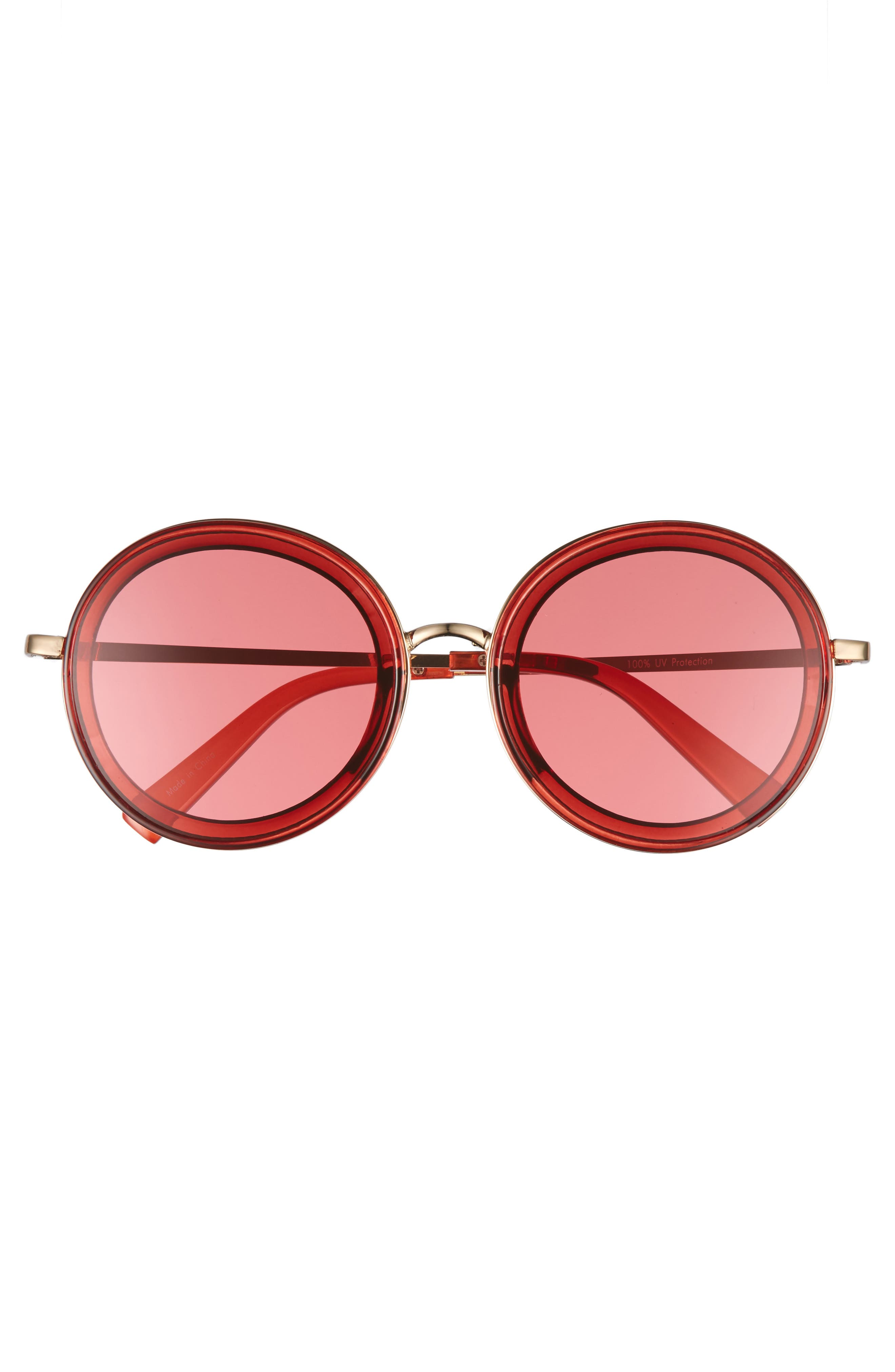 59mm Round Sunglasses,                             Alternate thumbnail 3, color,                             Pink