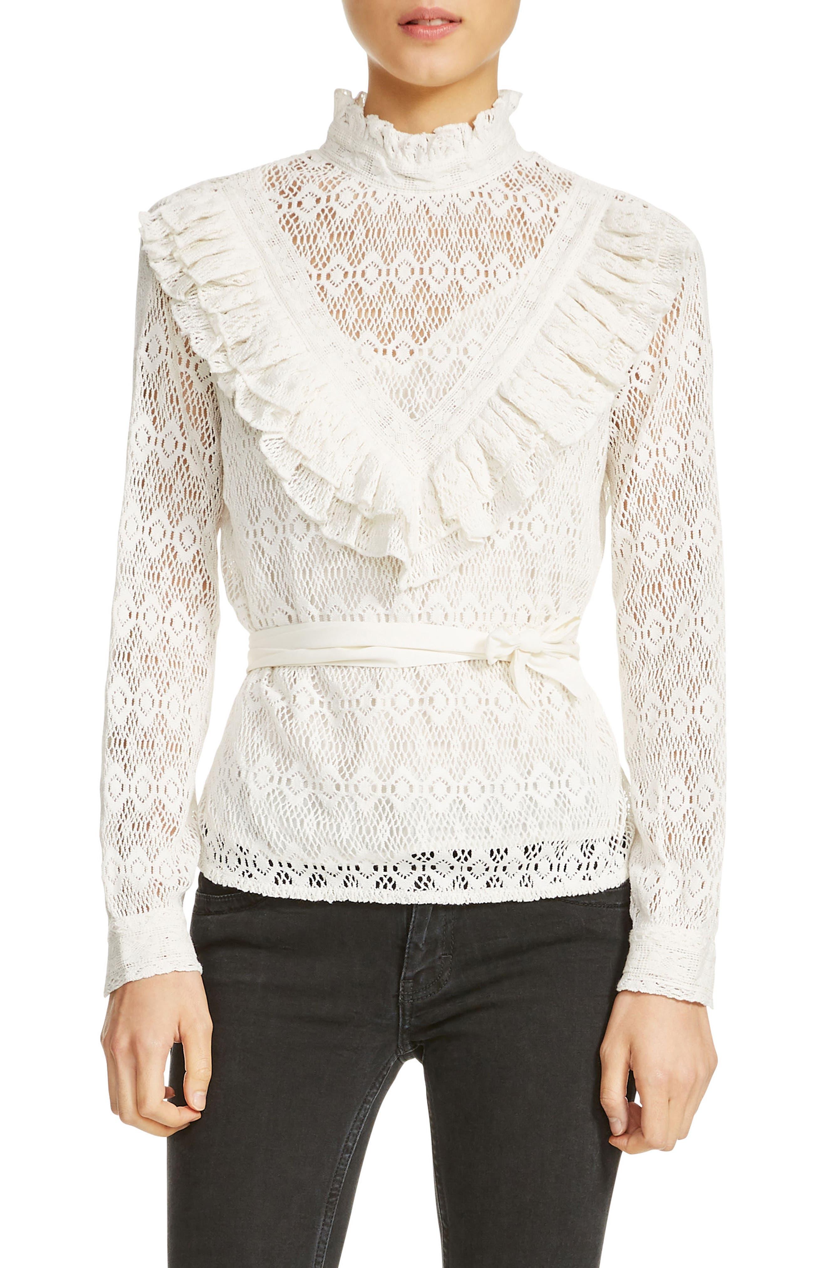 maje Limba Belted Lace Blouse