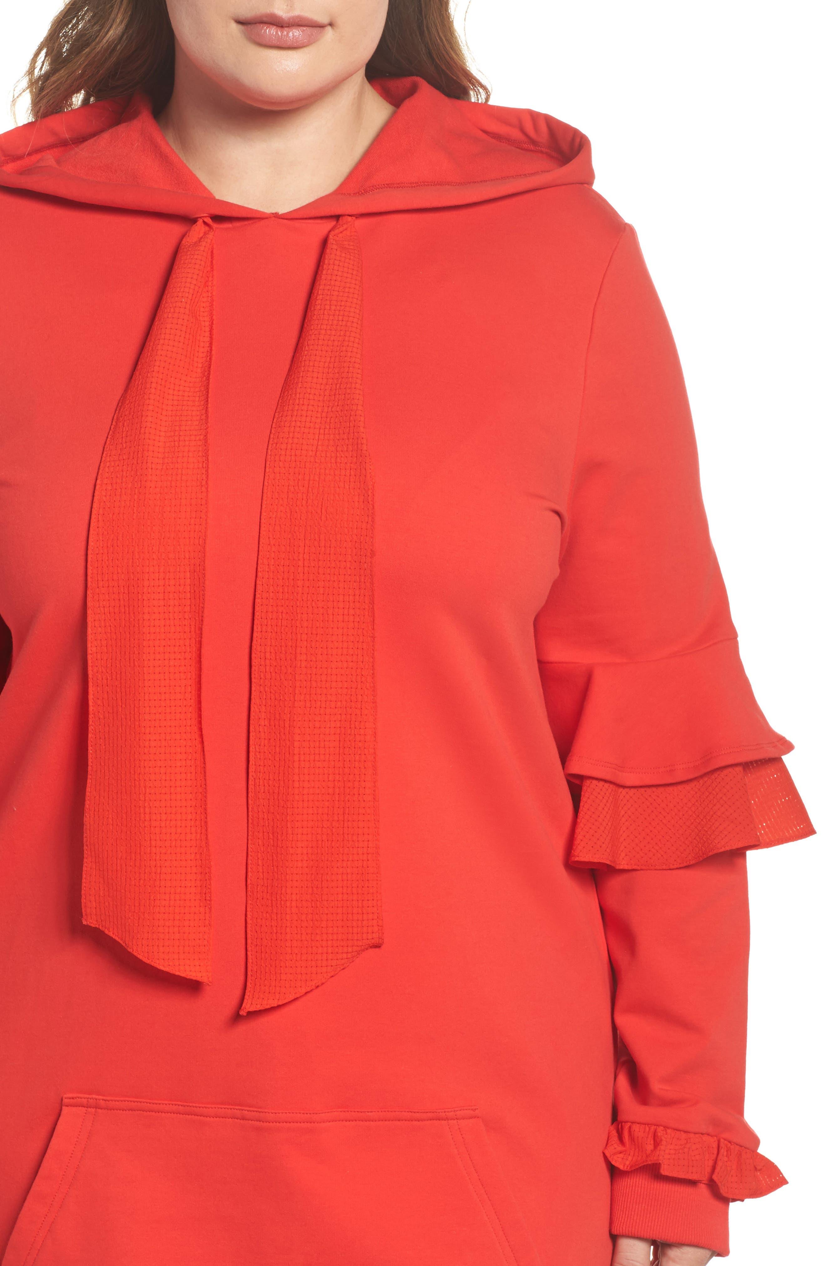 Alternate Image 4  - ELVI The Snapdragon Ruffle Sleeve Hoodie Dress (Regular & Plus Size)