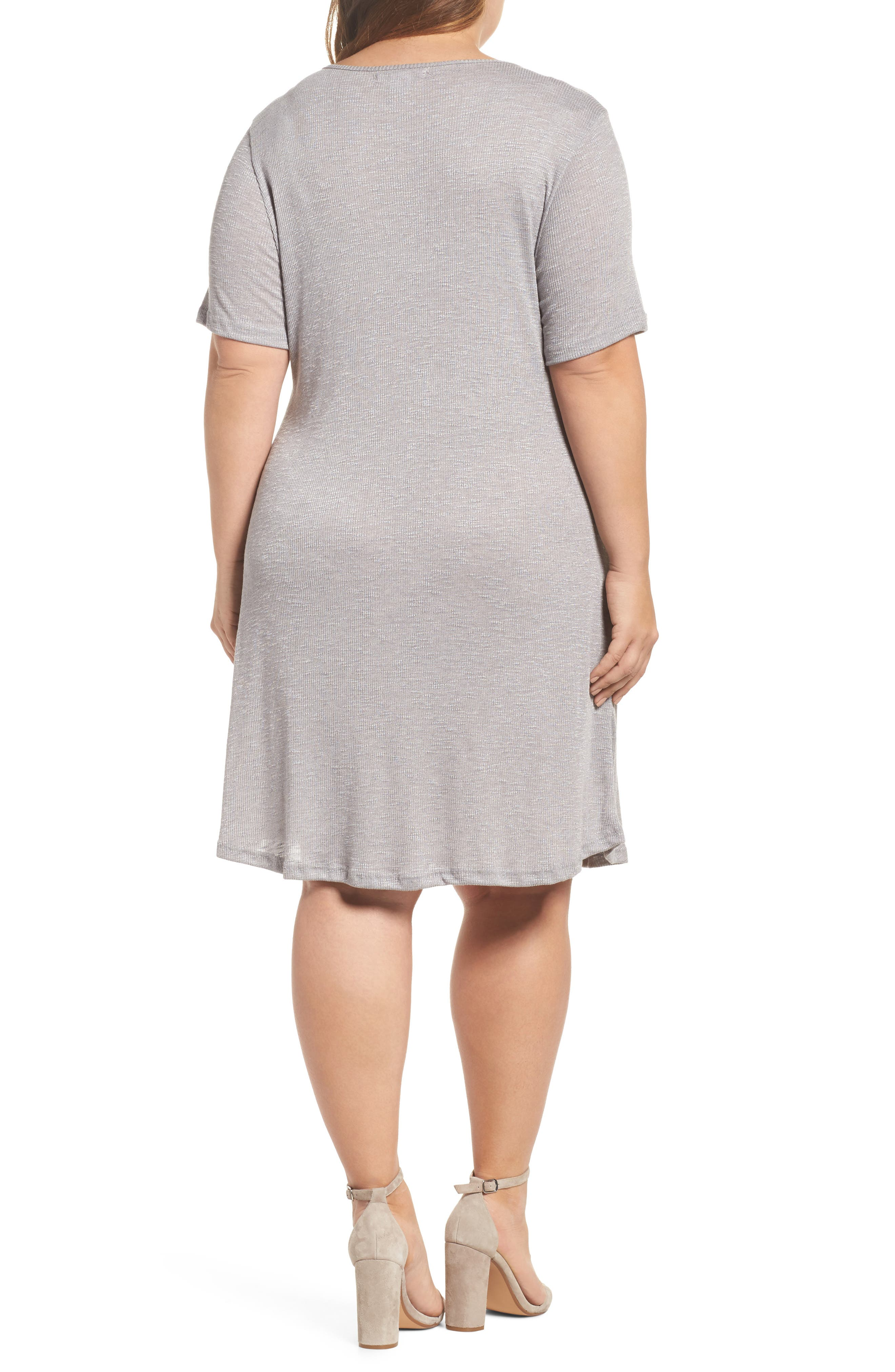 Lace-Up Knit Shift Dress,                             Alternate thumbnail 2, color,                             Grey
