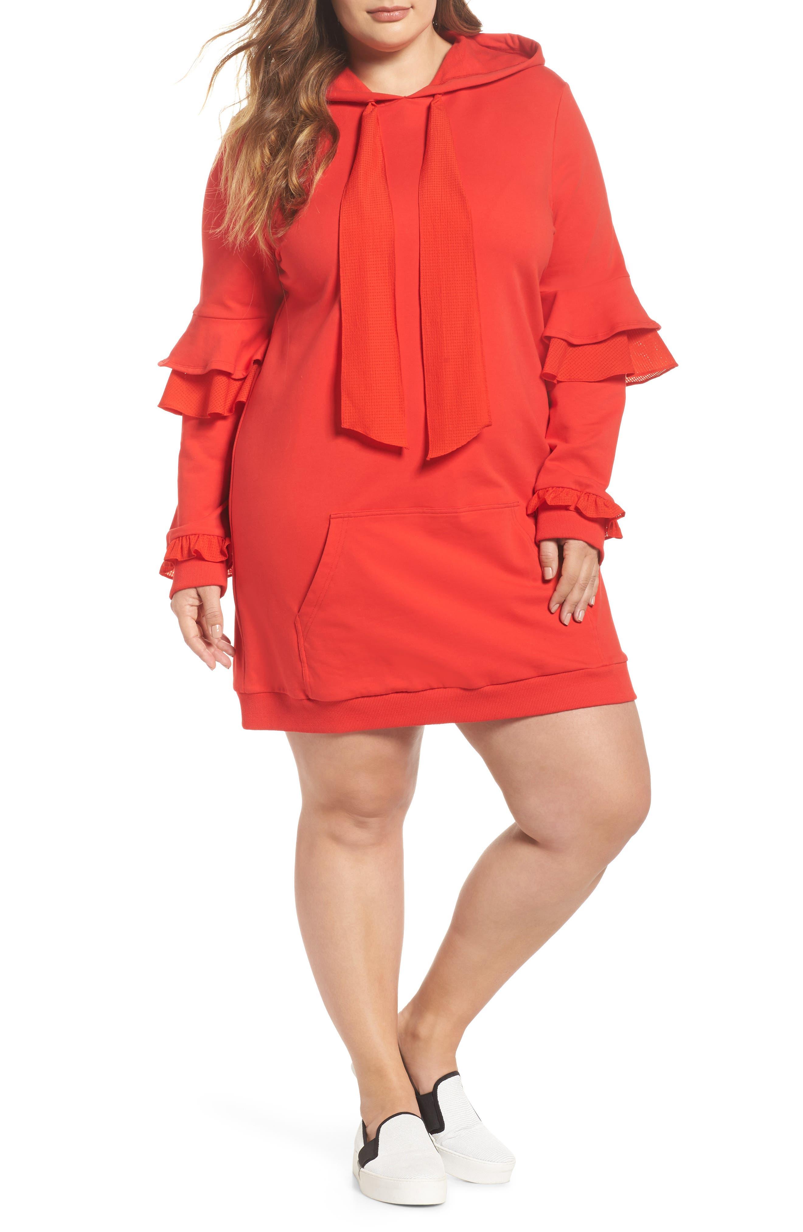 Main Image - ELVI The Snapdragon Ruffle Sleeve Hoodie Dress (Regular & Plus Size)