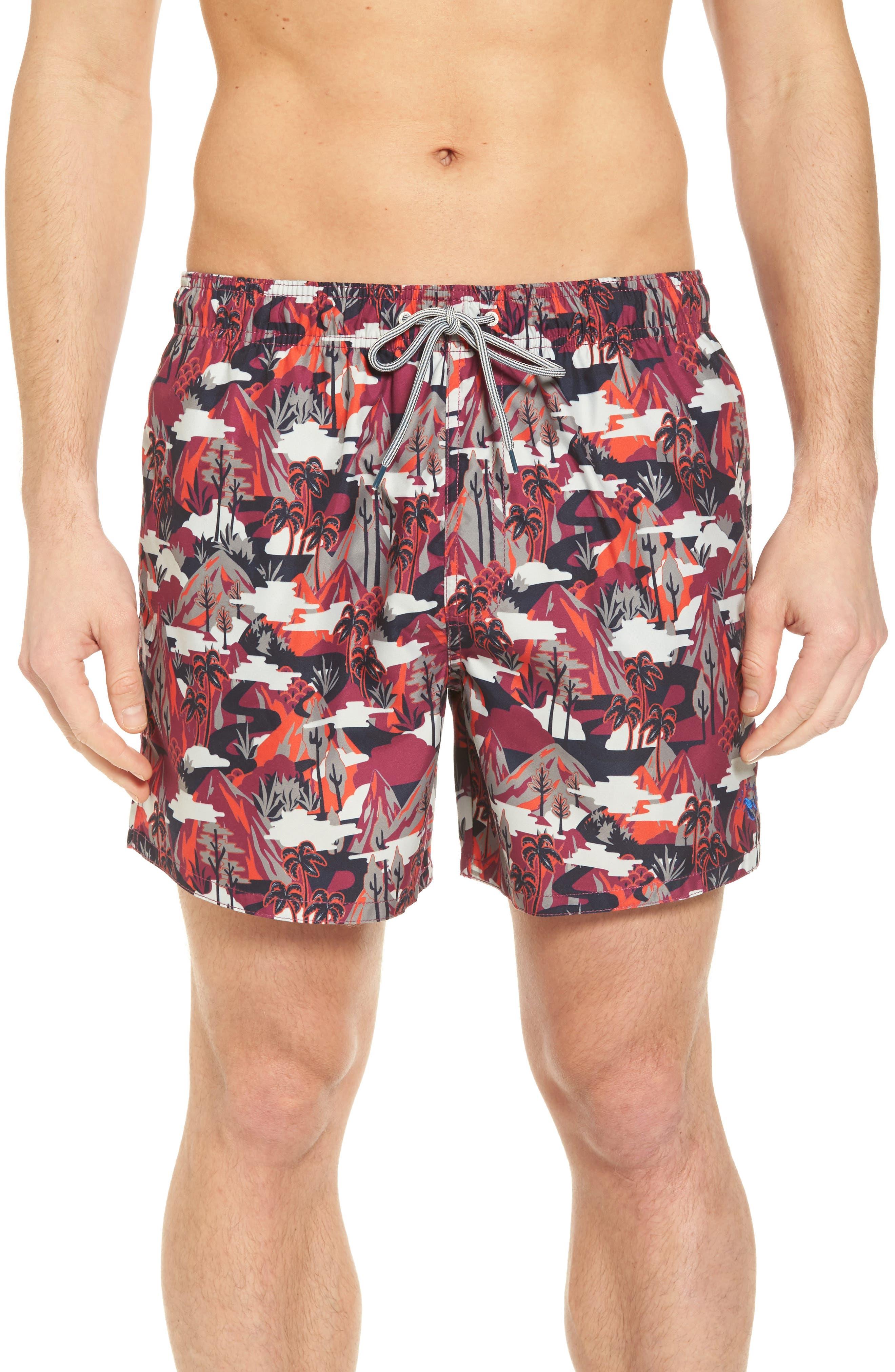 Karner Print Swim Trunks,                         Main,                         color, Red