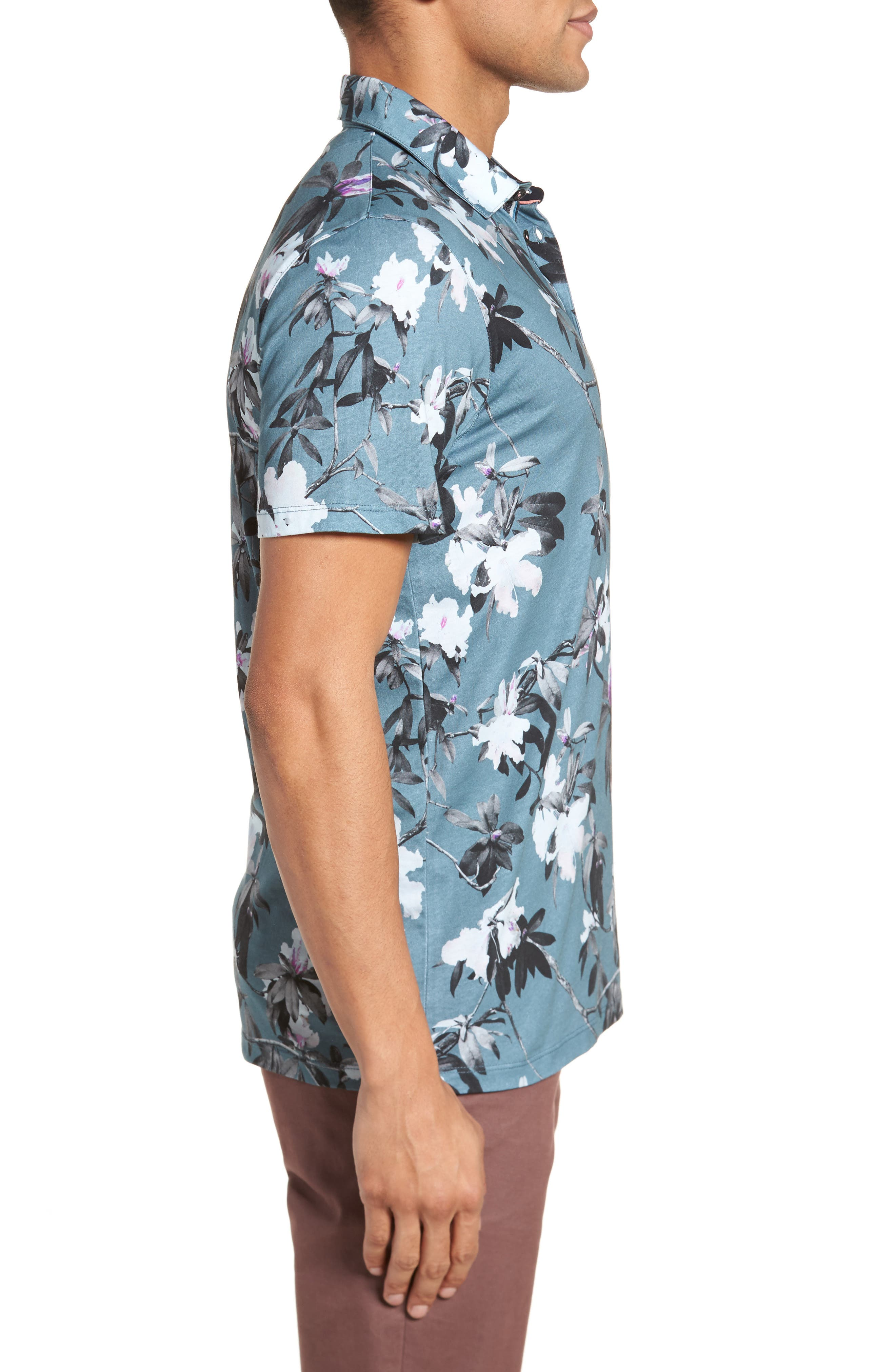 Scruff Trim Fit Floral Print Polo,                             Alternate thumbnail 3, color,                             Teal