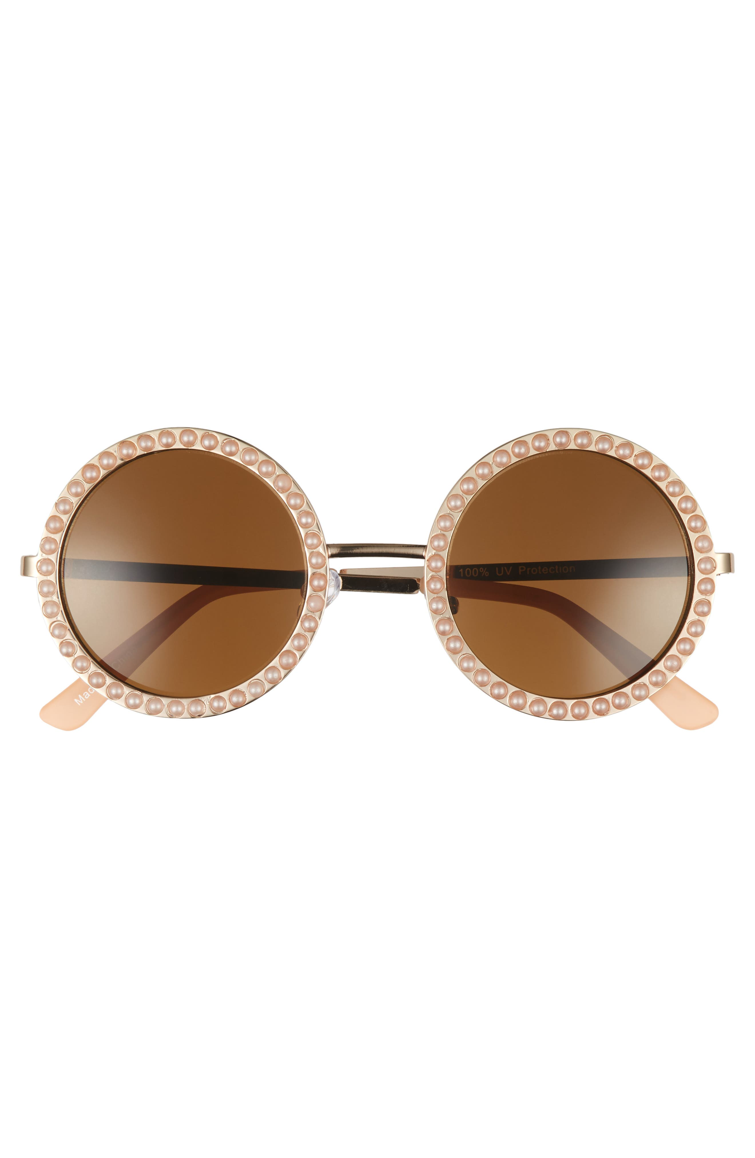 Alternate Image 3  - BP. 55mm Imitation Pearl Round Sunglasses