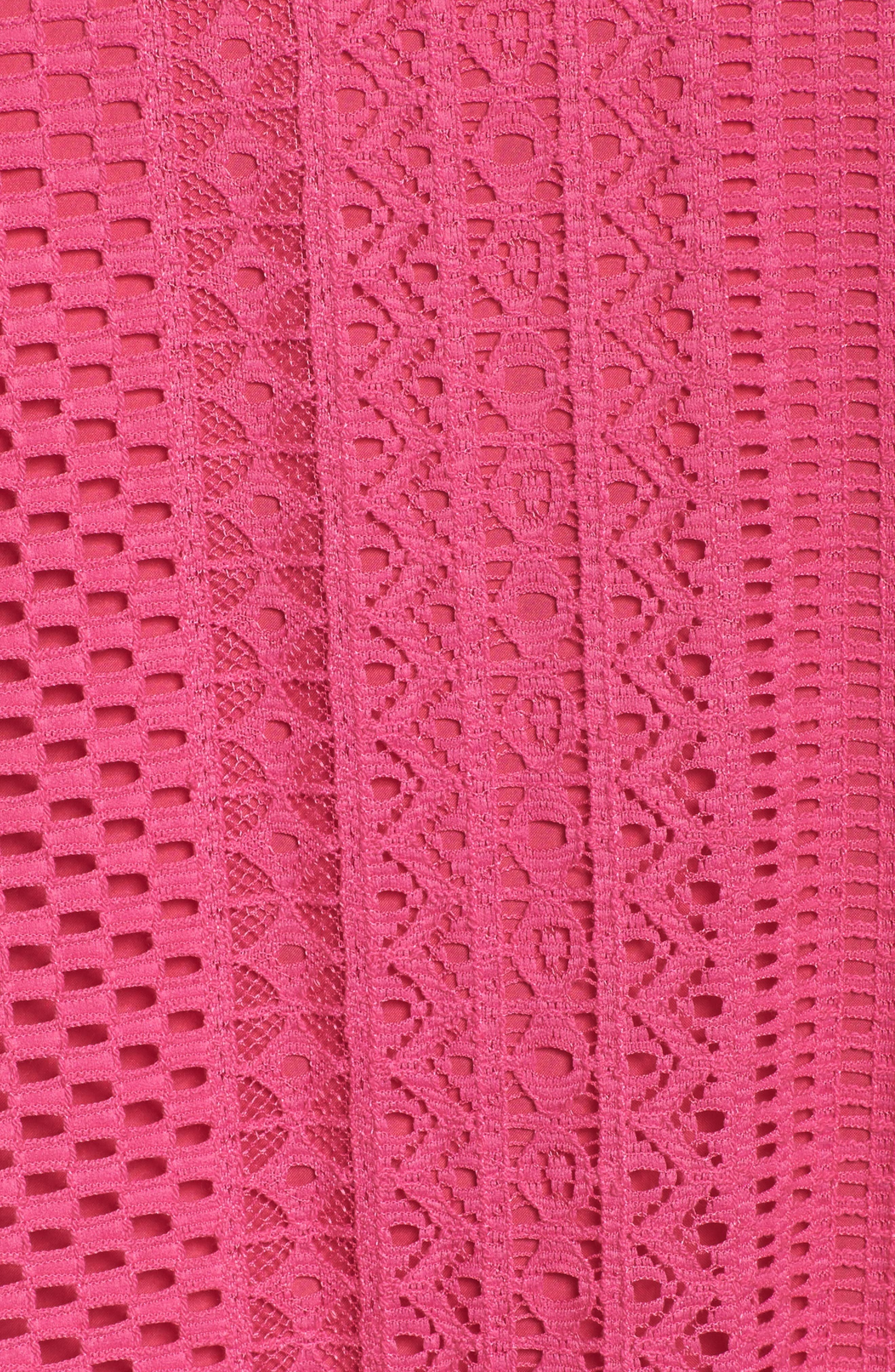 Geo Lace Trapeze Dress,                             Alternate thumbnail 5, color,                             Pink