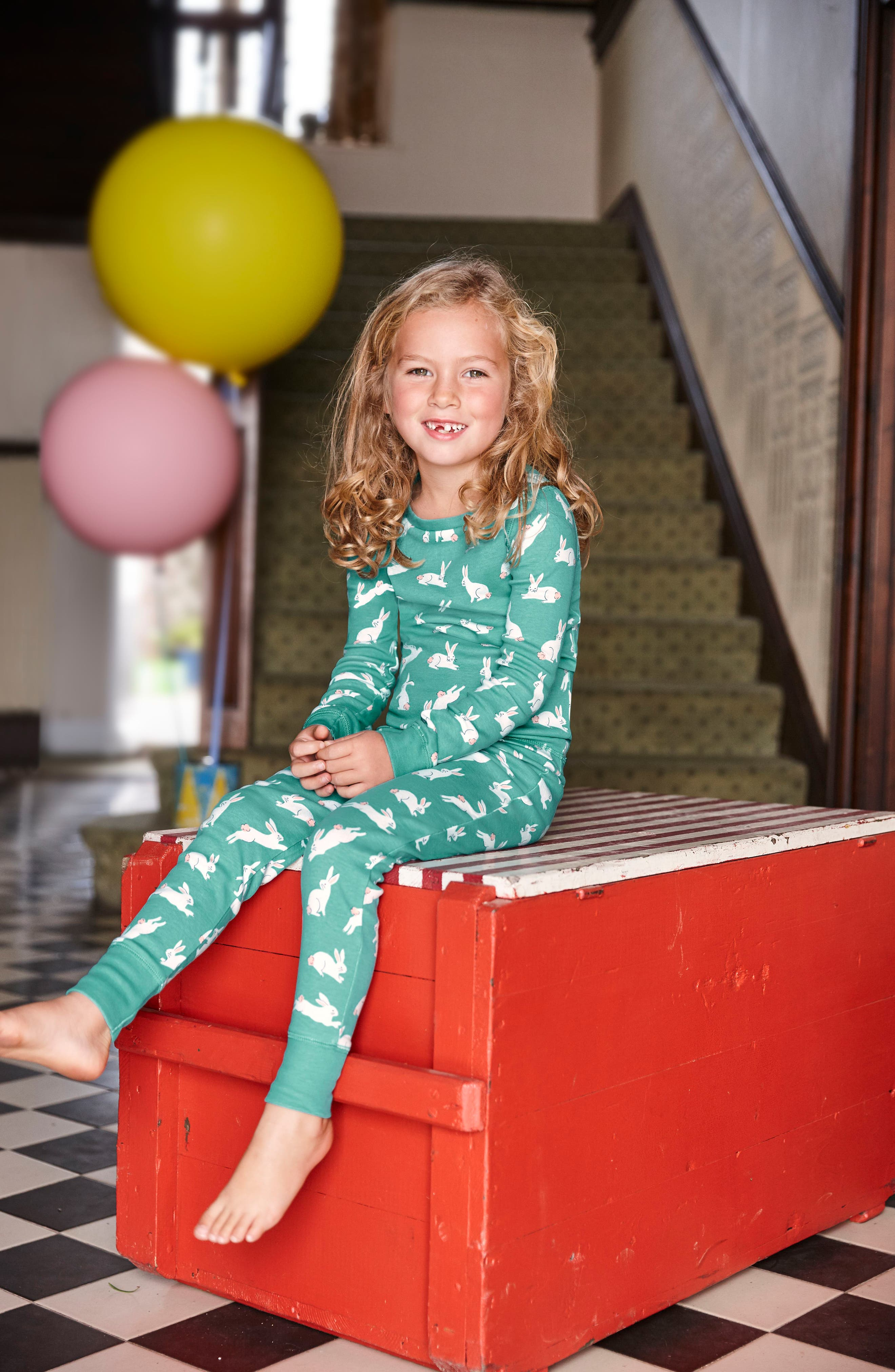 Two-Pack Fitted Two-Piece Pajamas,                             Alternate thumbnail 2, color,                             Green Bunnies/ Provence Pink