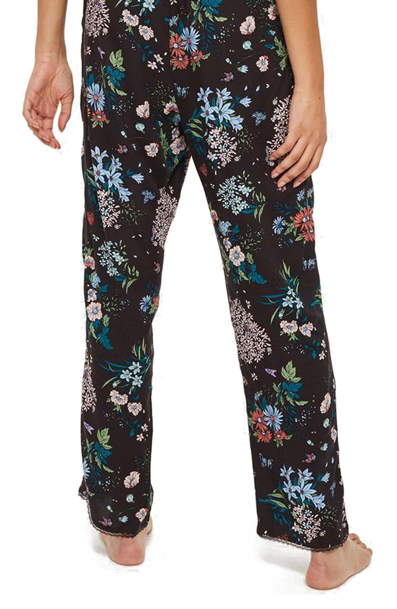 Montana Floral Pajama Pants,                             Alternate thumbnail 2, color,                             Black Multi