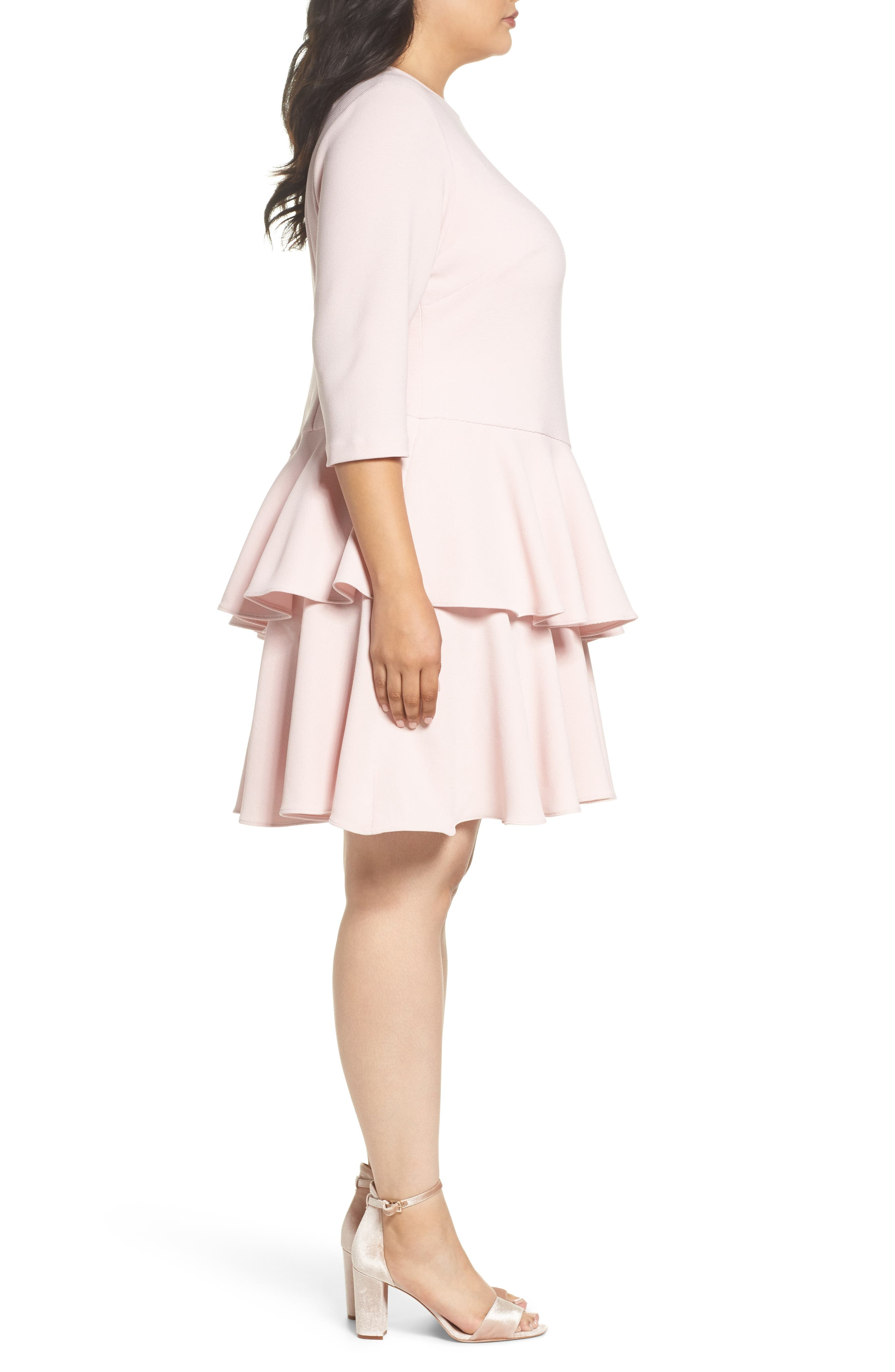 Tiered Ruffle A-Line Dress,                             Alternate thumbnail 3, color,                             Blush