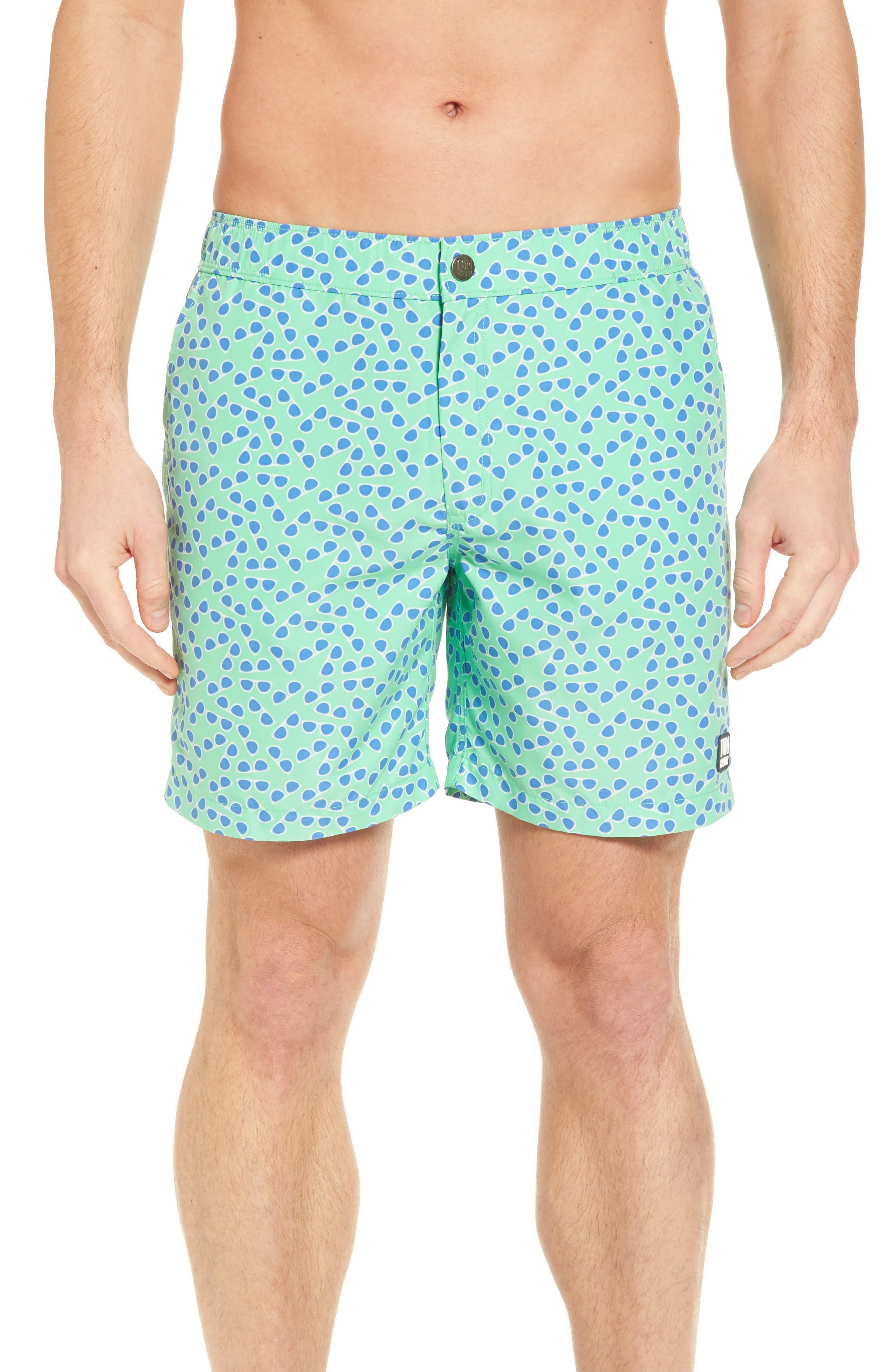 TOM & TEDDY Sunglasses Print Swim Trunks in Spring Green