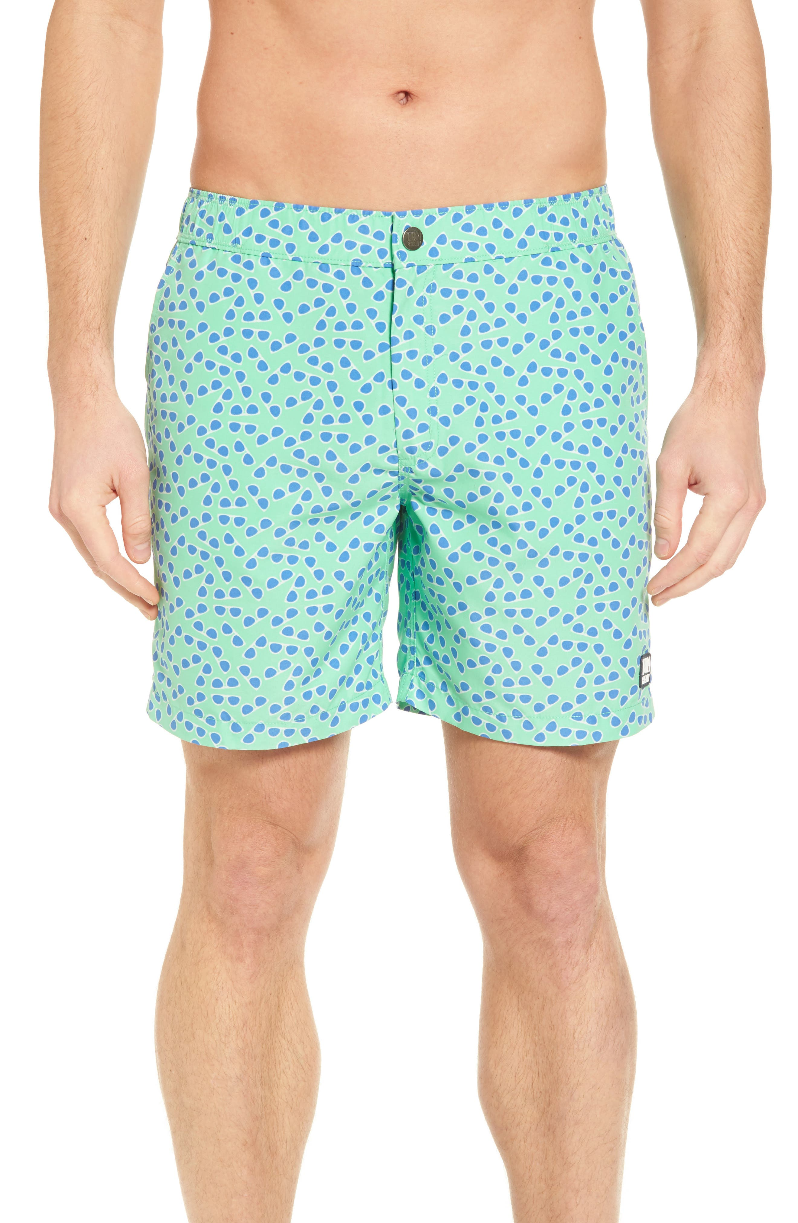 Sunglasses Print Swim Trunks,                             Main thumbnail 1, color,                             Spring Green