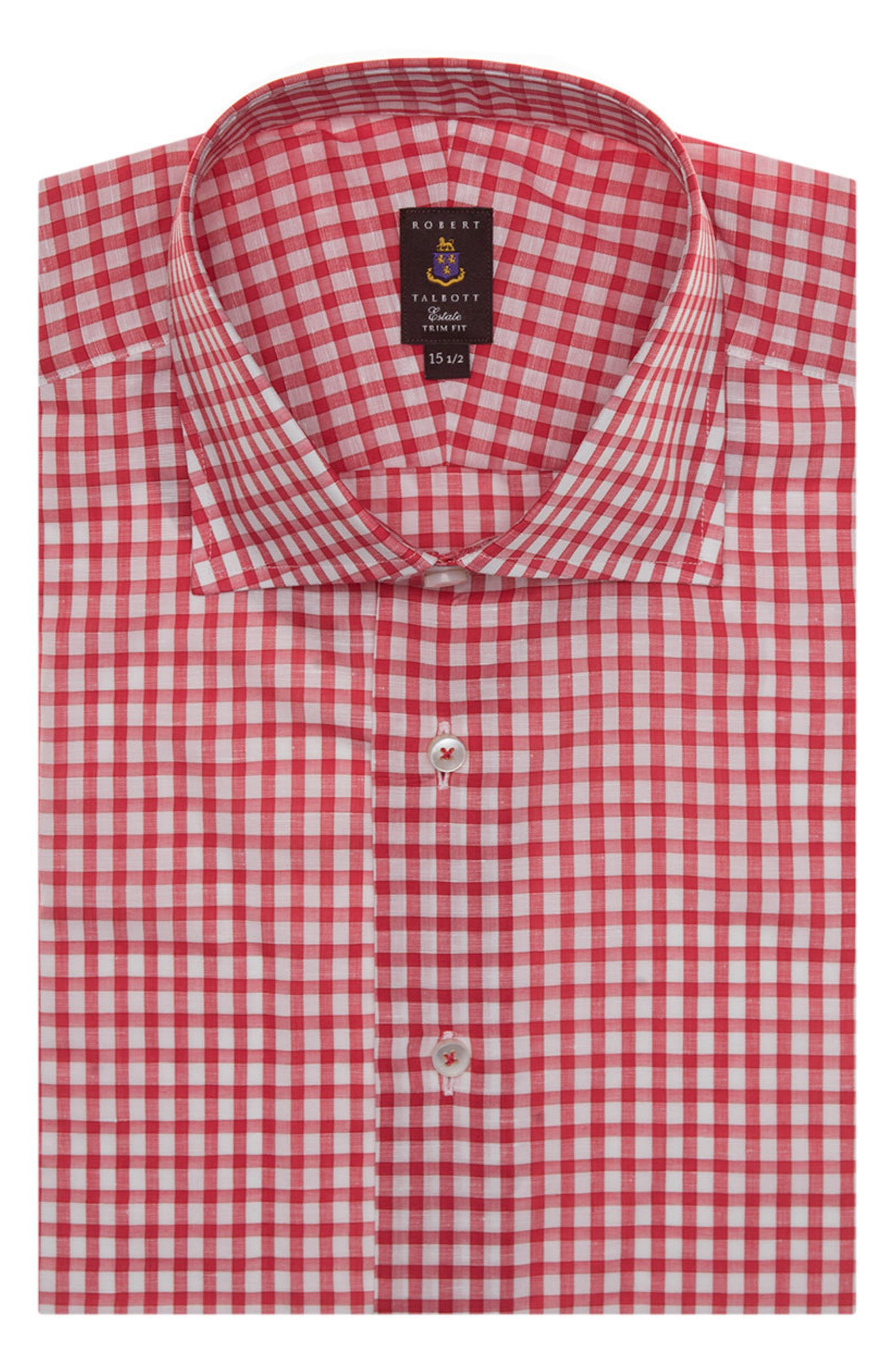 Tailored Fit Check Dress Shirt,                         Main,                         color, Red