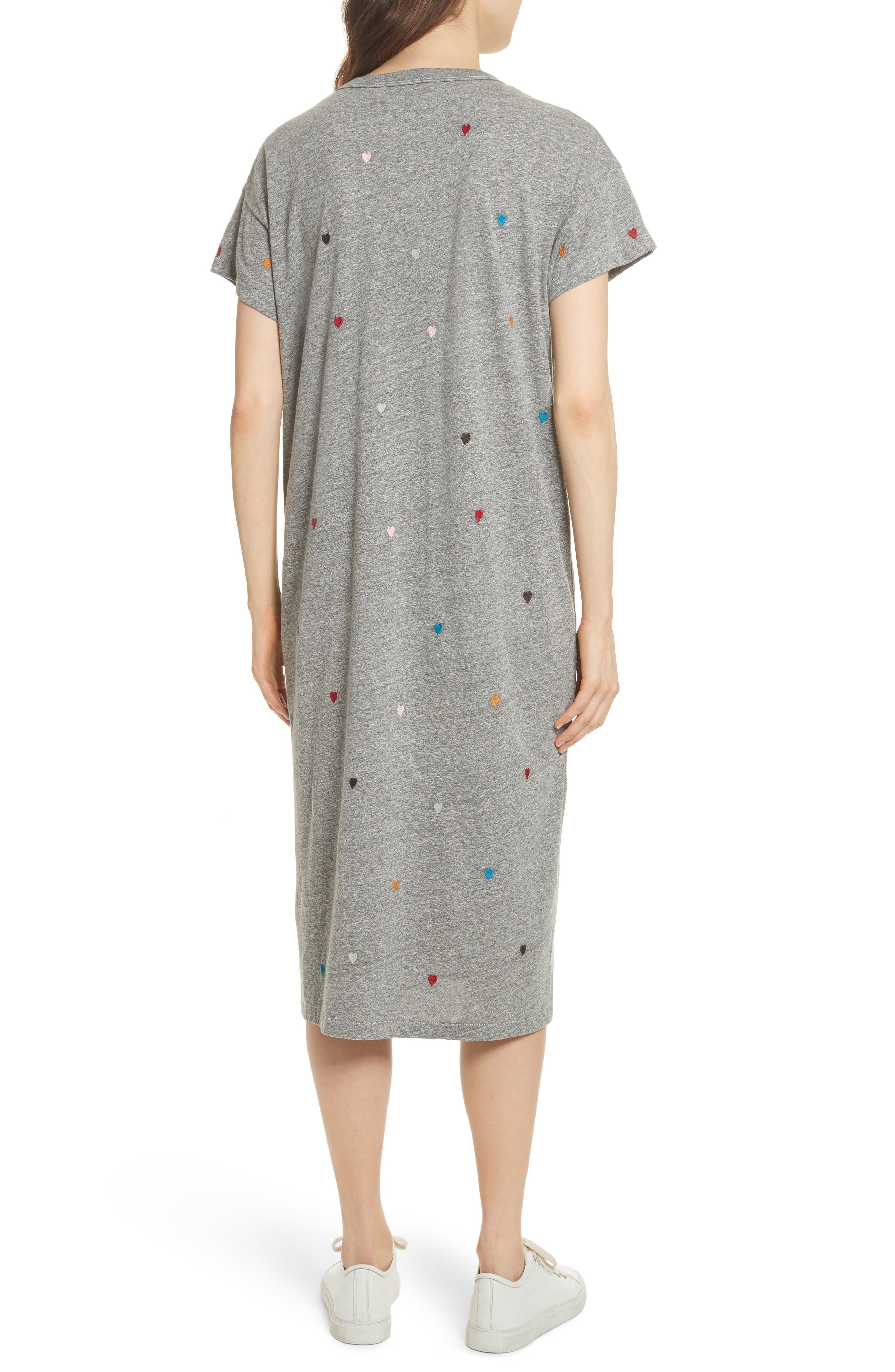 The Boxy Embroidered T-Shirt Dress,                             Alternate thumbnail 2, color,                             Grey/ Heart Embroidery