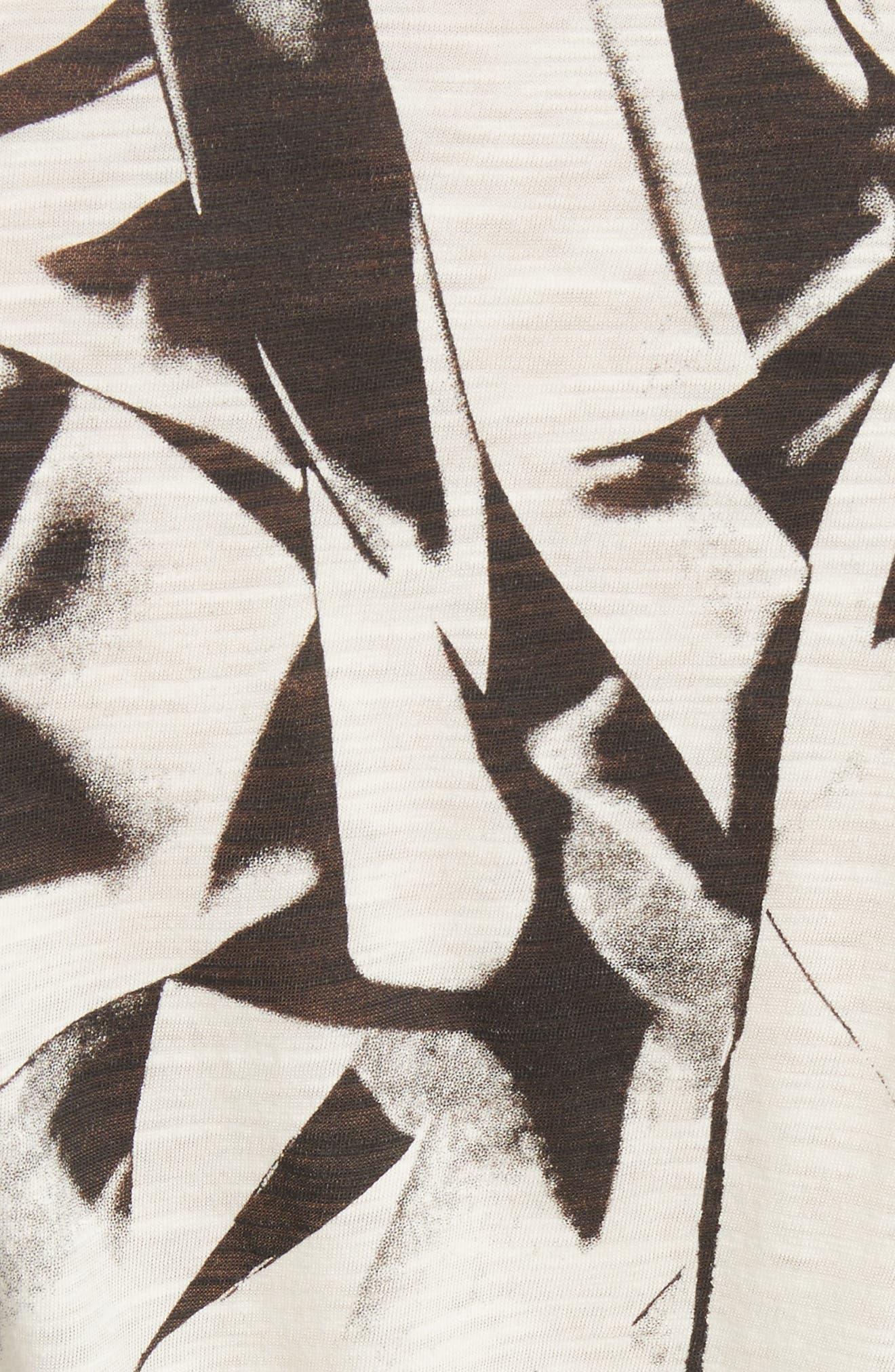 Band Detail Print Tissue Jersey Tee,                             Alternate thumbnail 5, color,                             Ecru/ Black Crushed Print