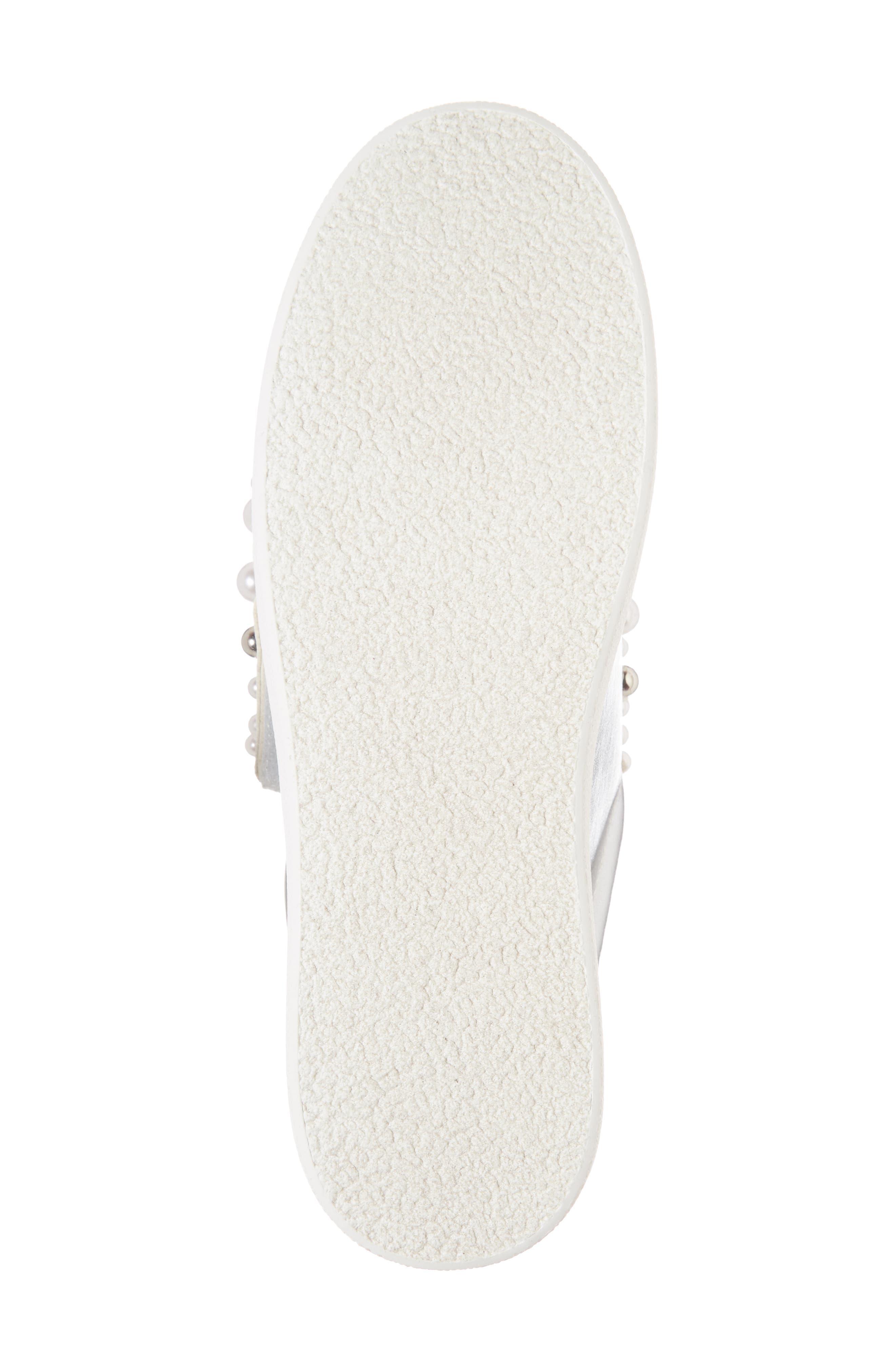 Lion Embellished Slip-On Platform Sneaker,                             Alternate thumbnail 6, color,                             Silver Faux Leather