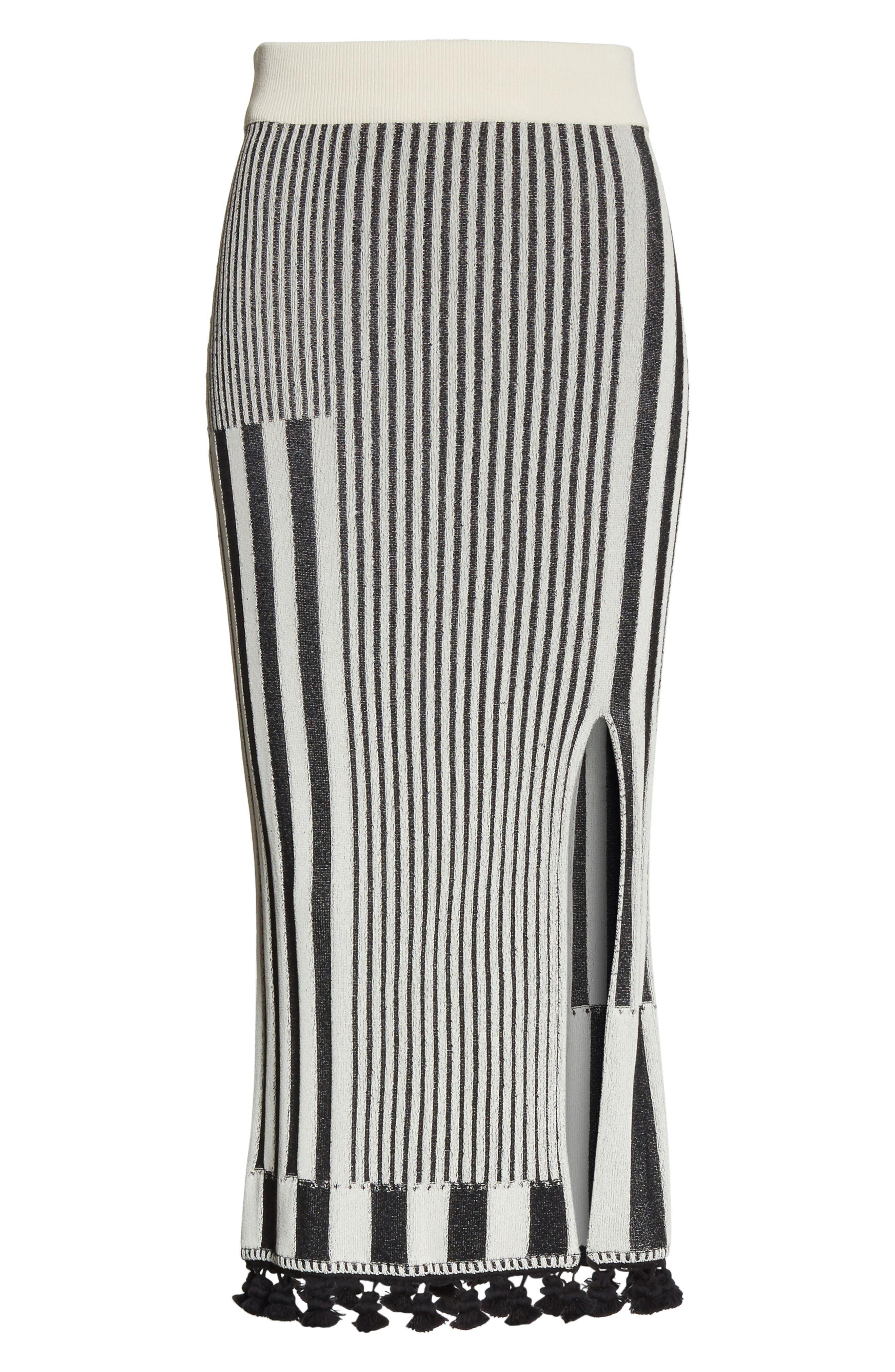 Tassel Trim Stripe Pencil Skirt,                             Alternate thumbnail 7, color,                             Black