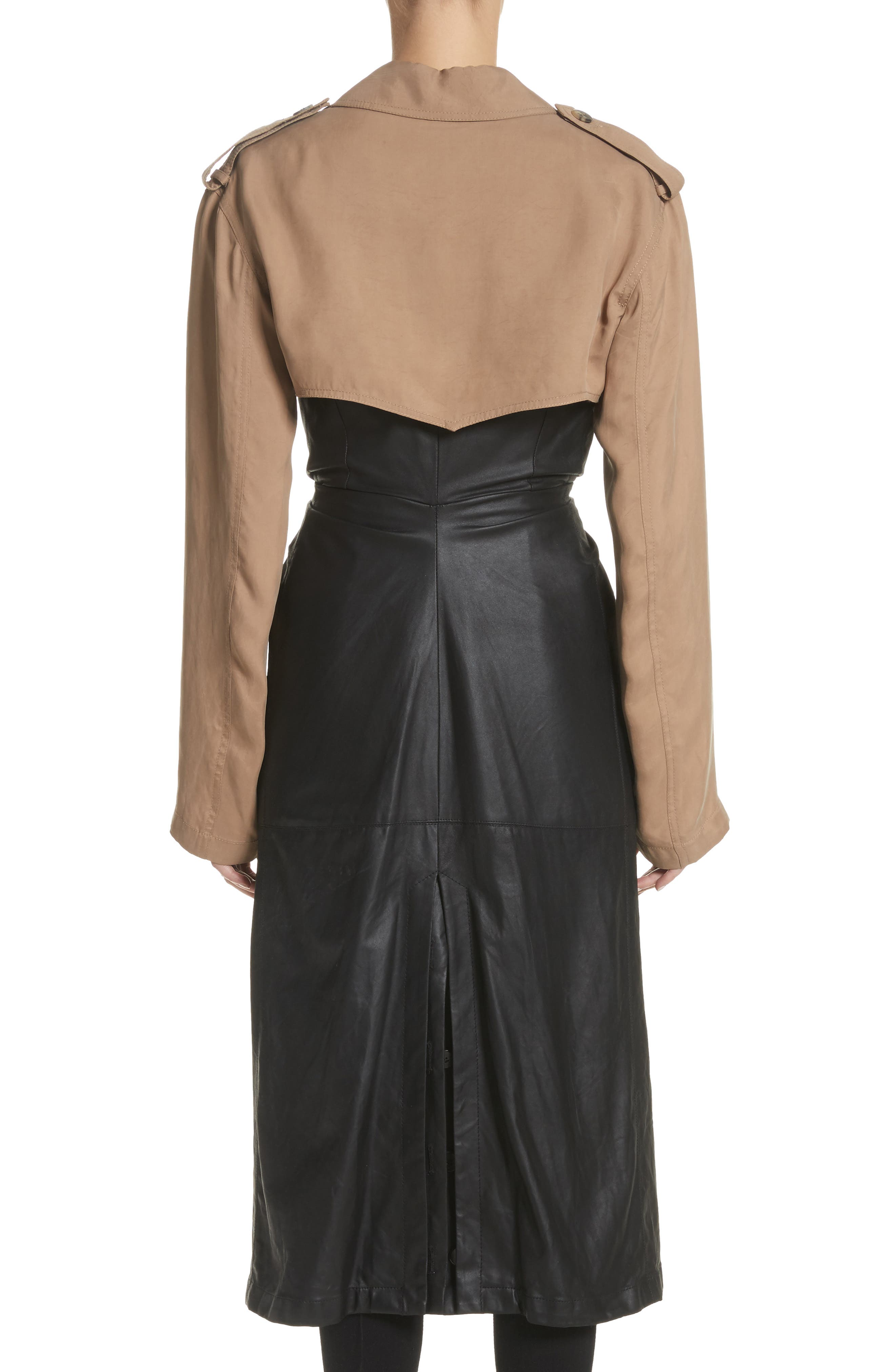 Tie Front Leather & Twill Trench Coat,                             Alternate thumbnail 2, color,                             Black