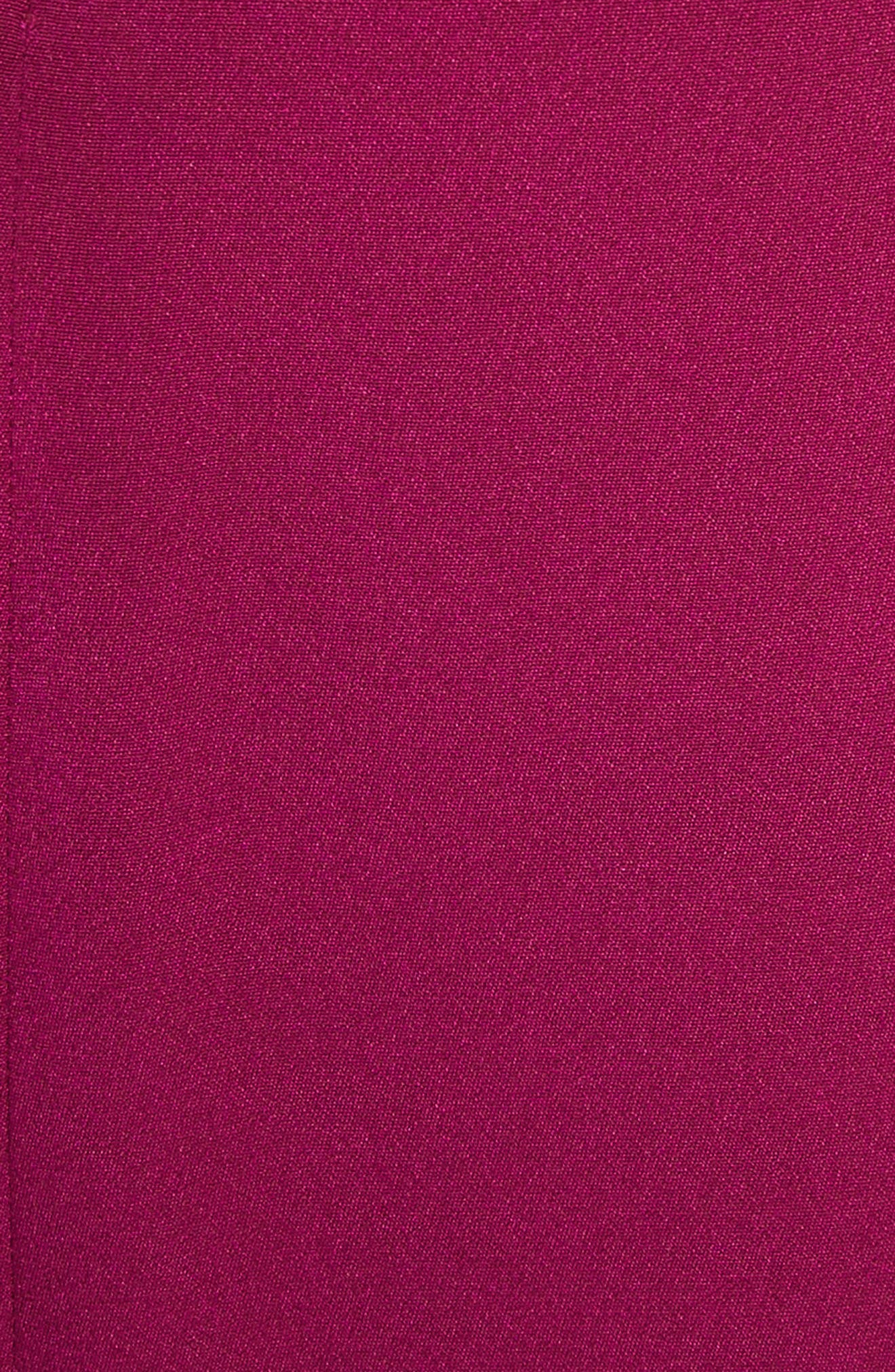 Cold Shoulder Ruffle Silk Sheath Dress,                             Alternate thumbnail 5, color,                             Dahlia