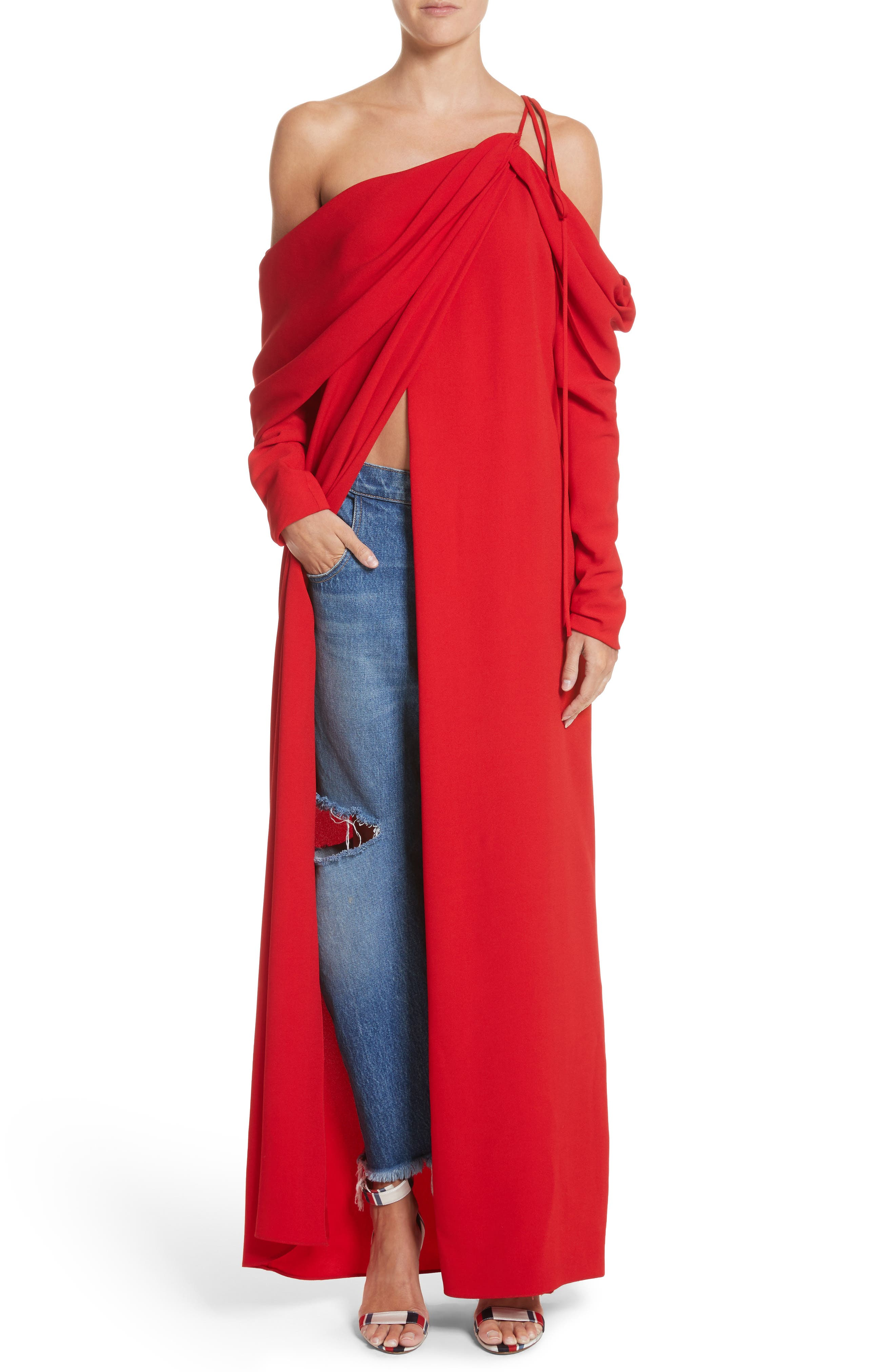 Cowl Sleeve Gown,                             Alternate thumbnail 7, color,                             Red