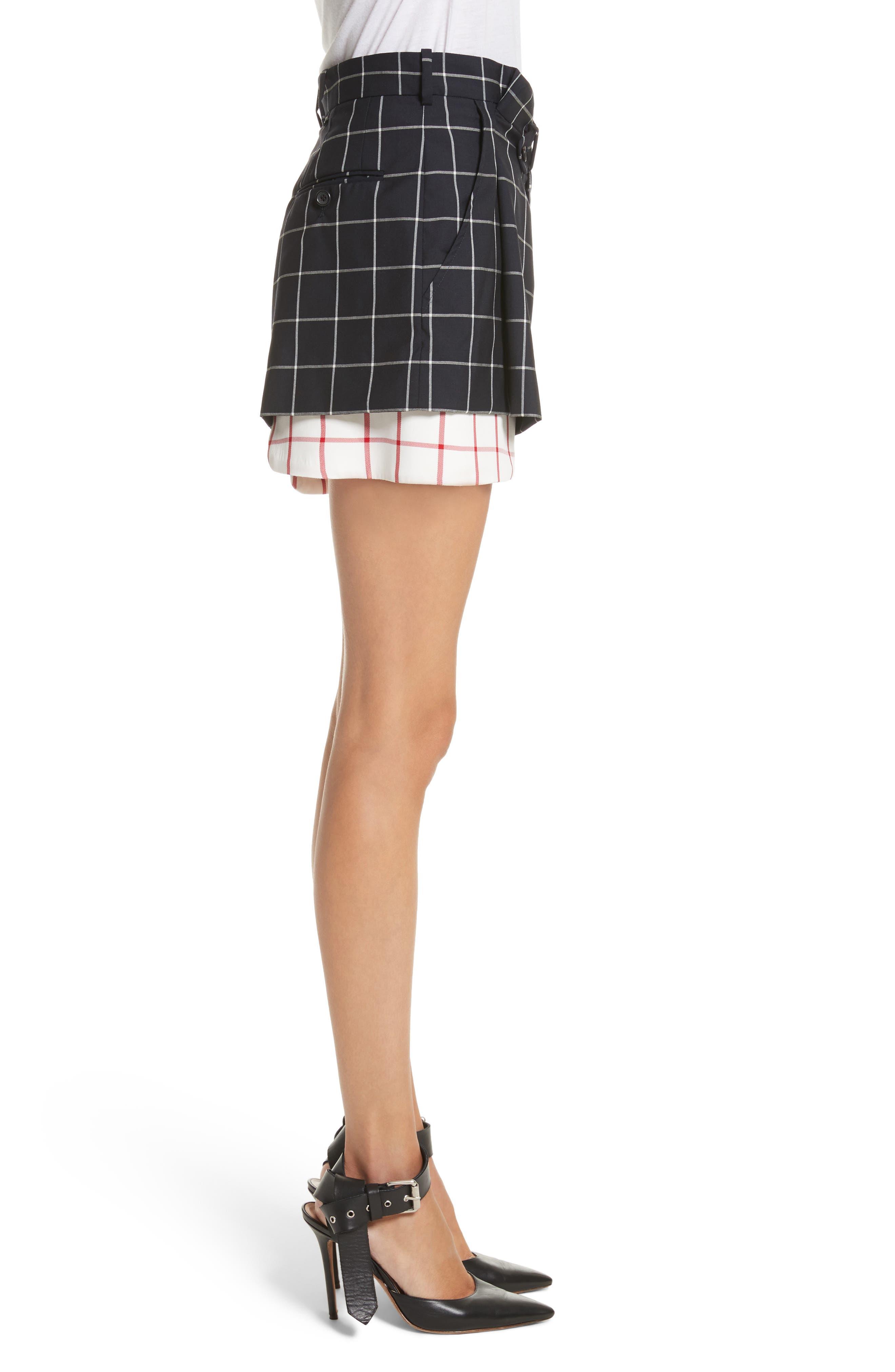 Peekaboo Windowpane Plaid Wool Shorts,                             Alternate thumbnail 3, color,                             Navy/ White