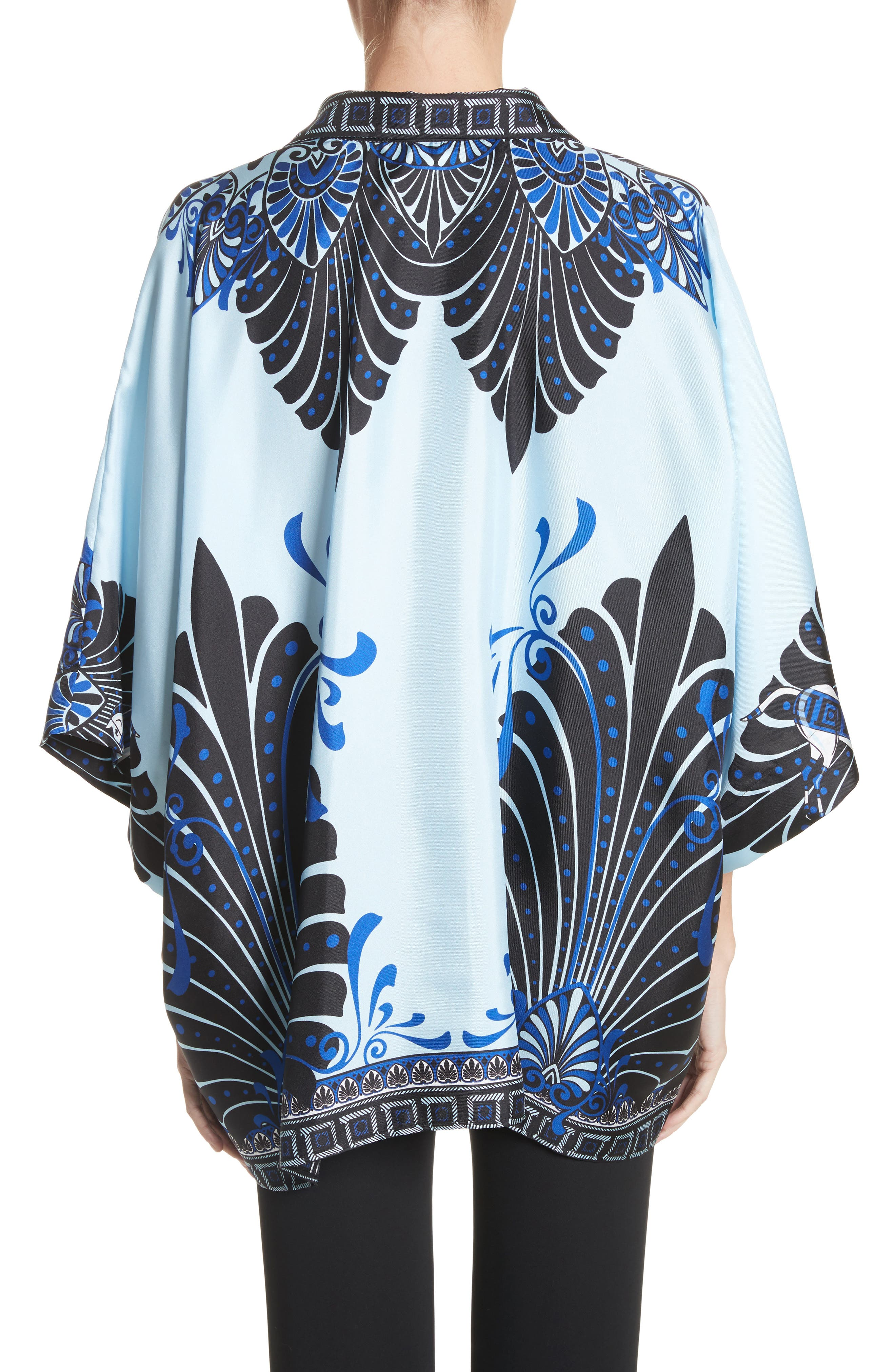 Eros Wide Sleeve Silk Shirt,                             Alternate thumbnail 2, color,                             Light Blue/ Print
