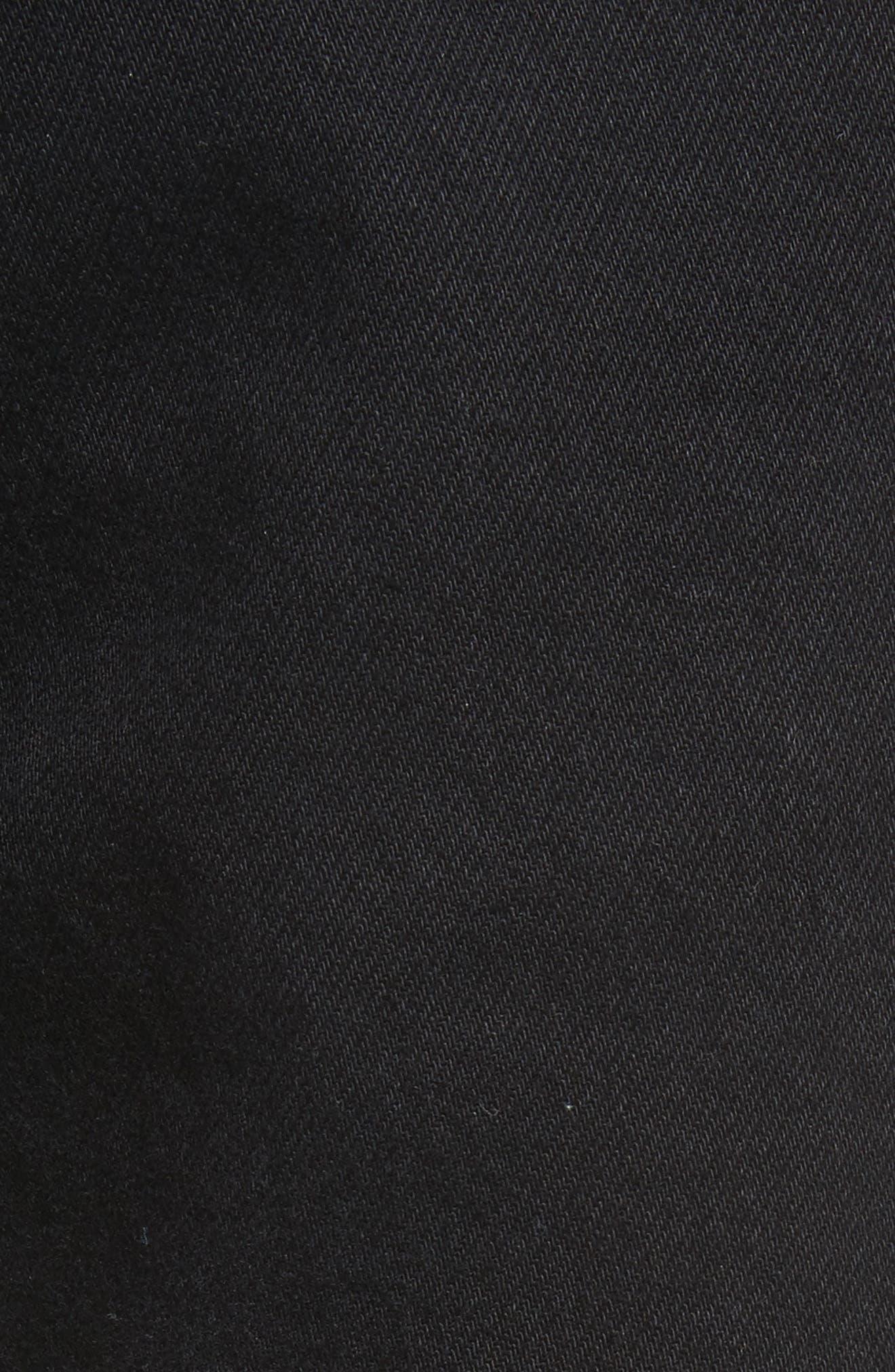 Silk Knee Patch Straight Leg Jeans,                             Alternate thumbnail 7, color,                             Black