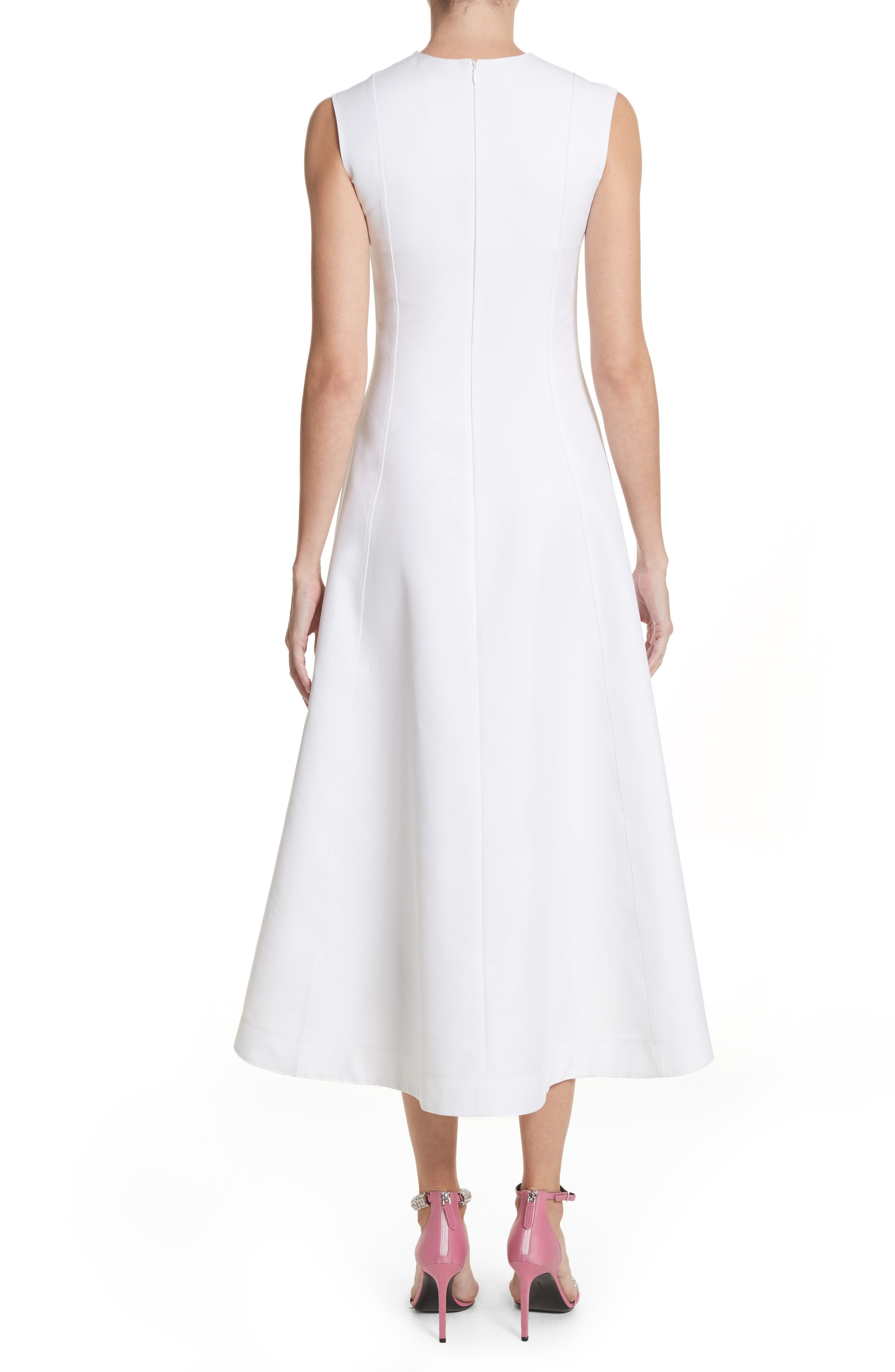 Flap Detail A-Line Dress,                             Alternate thumbnail 2, color,                             Optic White