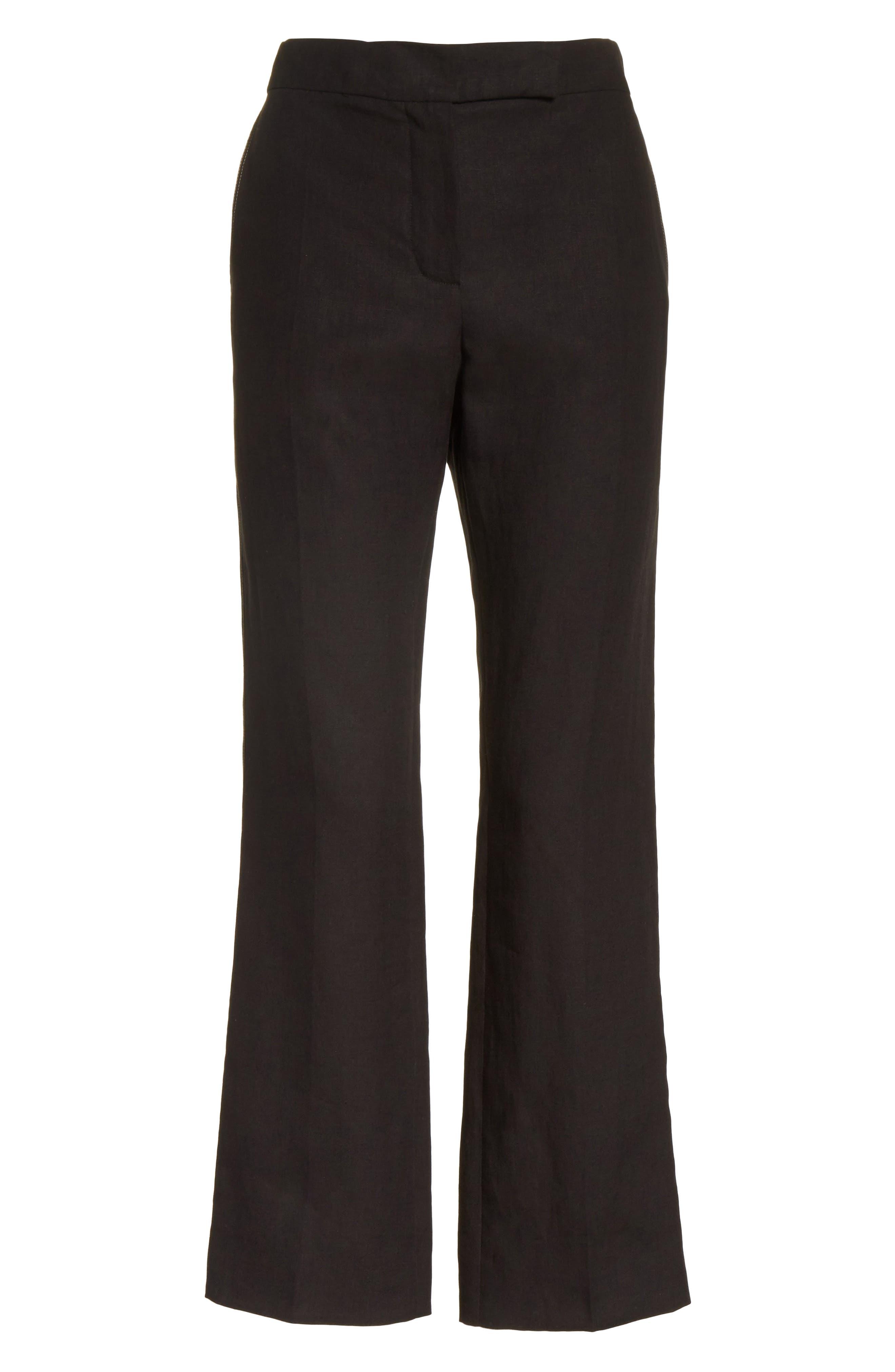 Luigia Linen Crop Flare Pants,                             Alternate thumbnail 6, color,                             Black