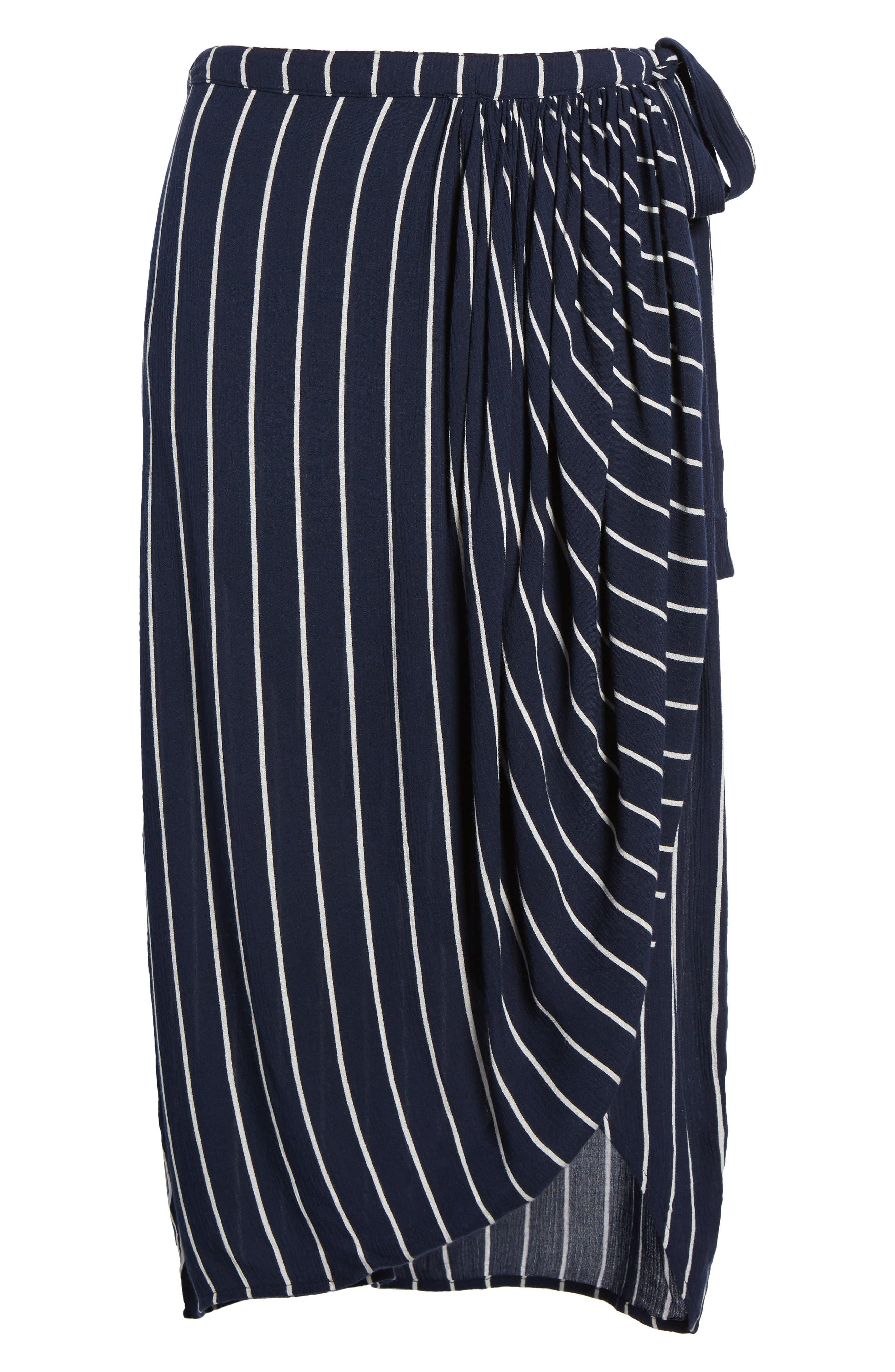 So Right Stripe Faux Wrap Skirt,                             Alternate thumbnail 7, color,                             Deep Sea