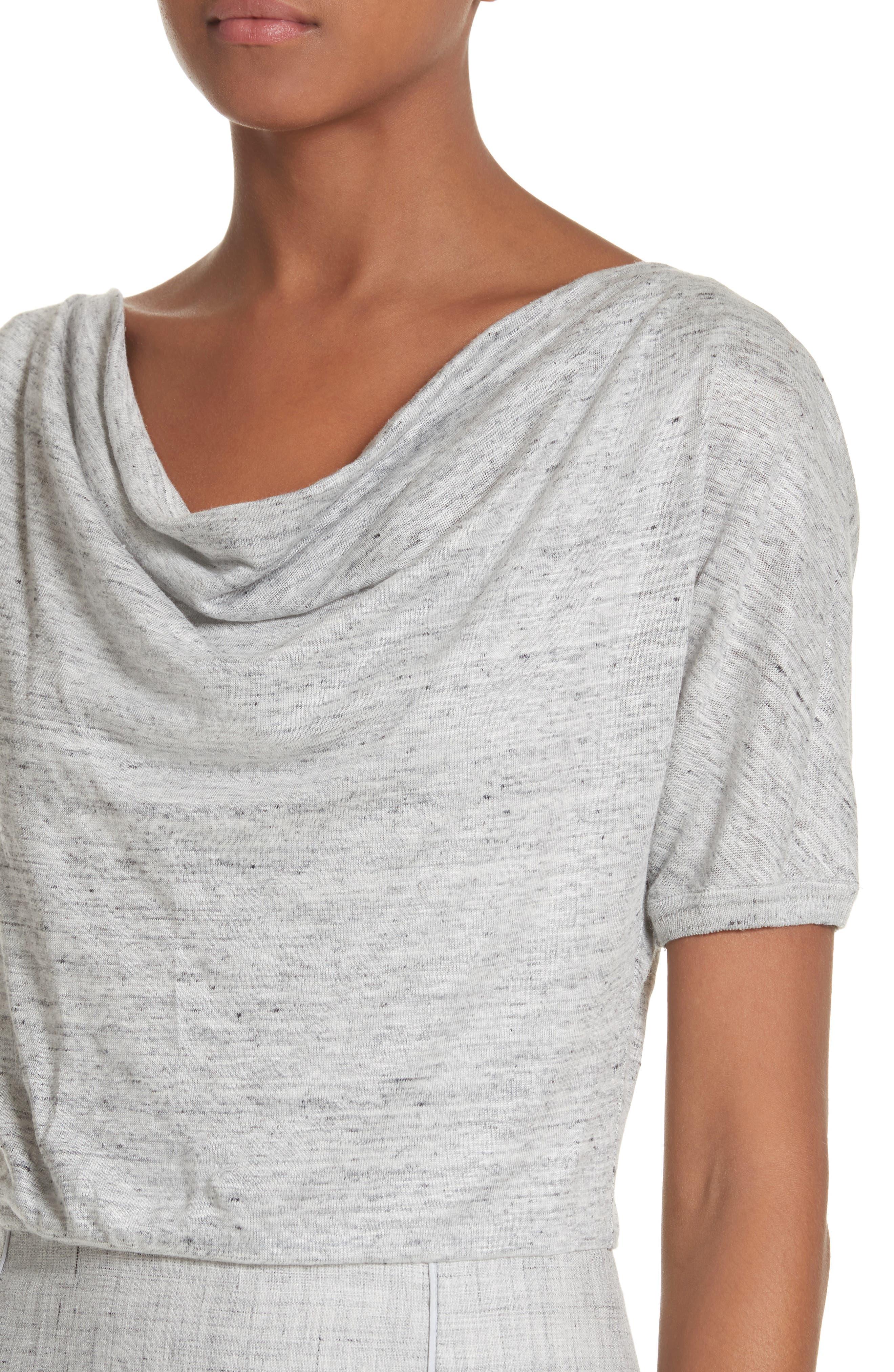 Laura Cowl Neck Linen Dress,                             Alternate thumbnail 4, color,                             Light Grey