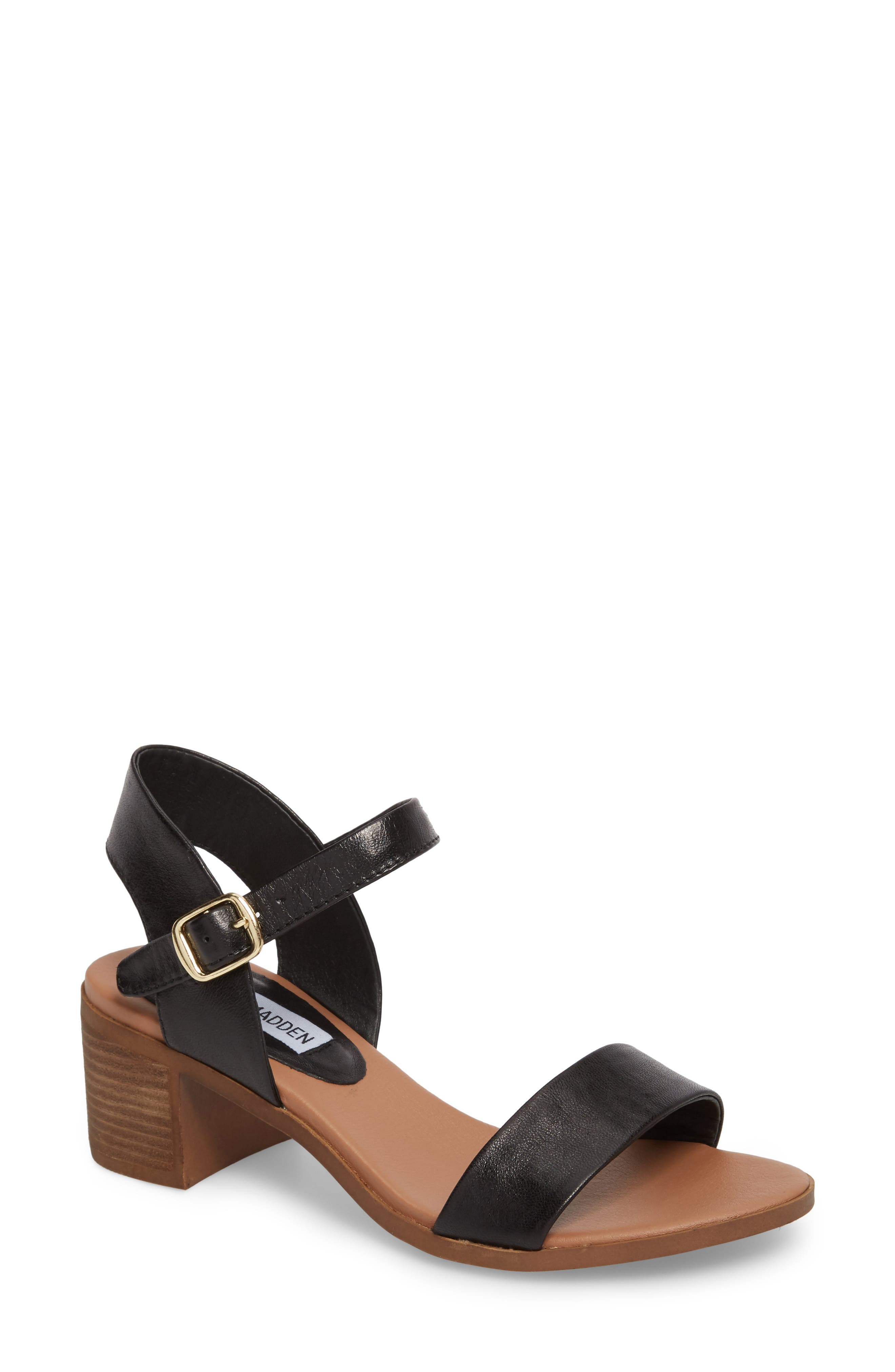 APRIL LEATHER STRAP MID-HEELED SANDALS