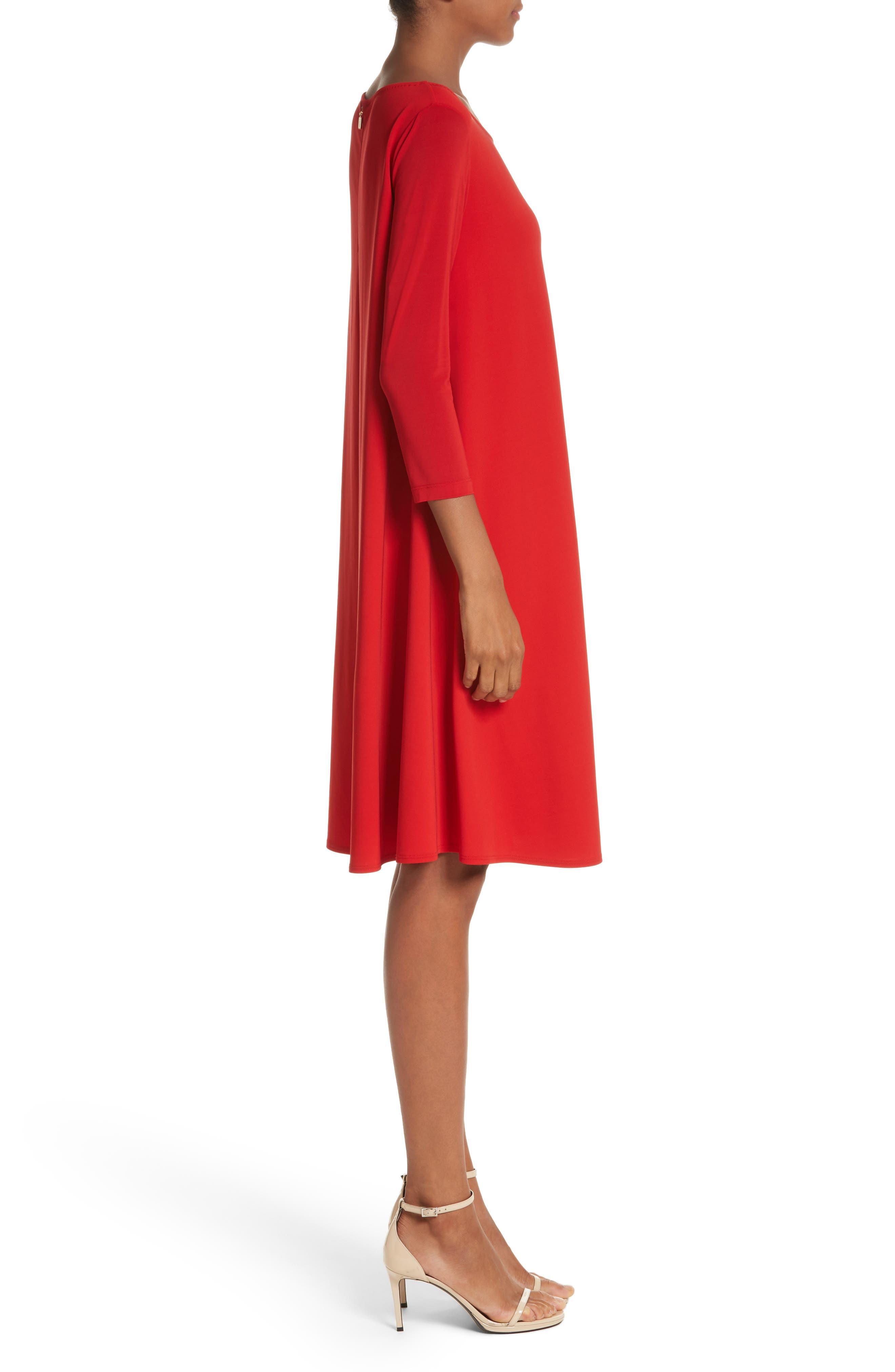 Pigna Swing Dress,                             Alternate thumbnail 3, color,                             Red
