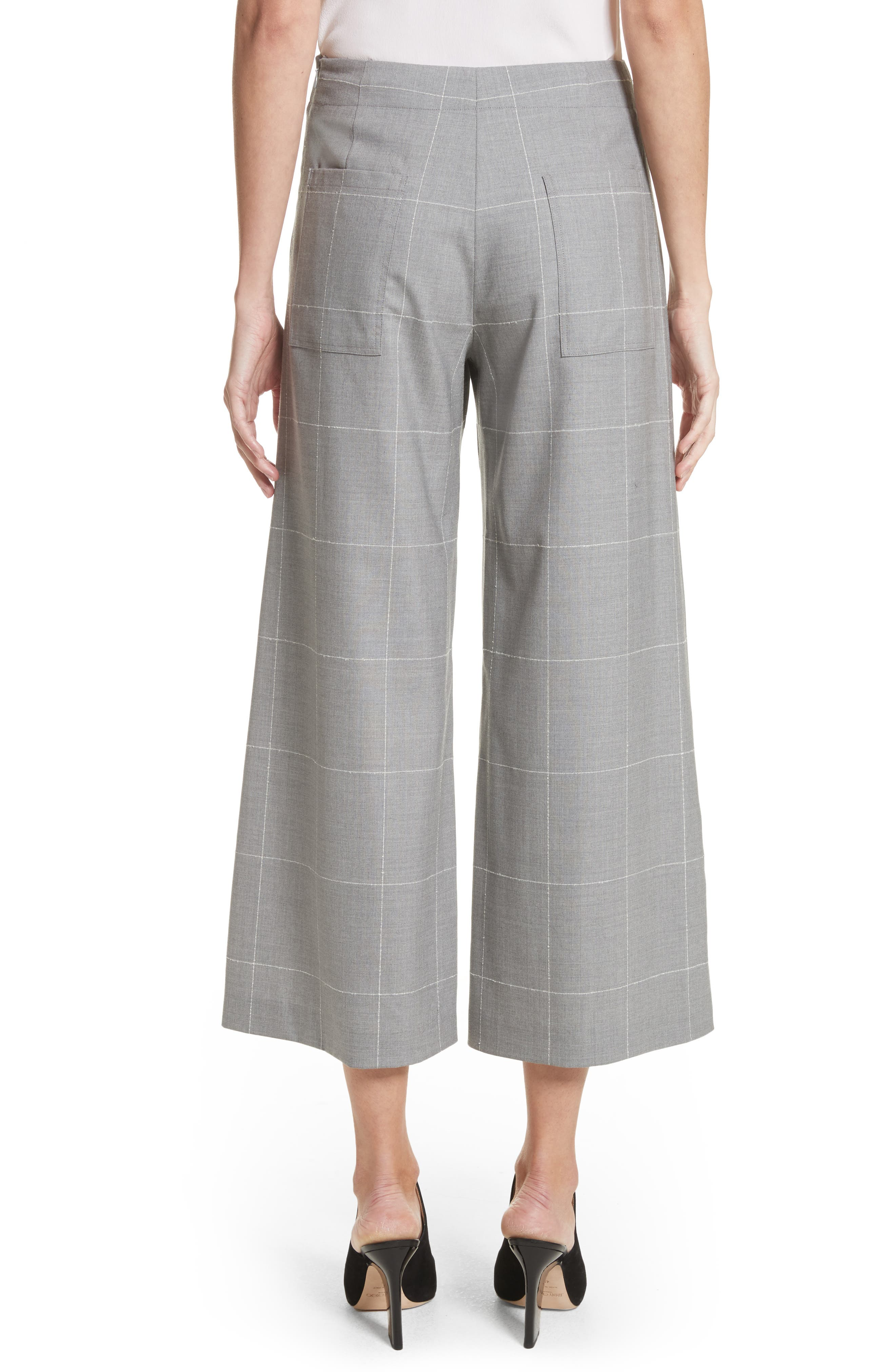 Windowpane Check Wool Wide Leg Crop Pants,                             Alternate thumbnail 2, color,                             Grey/ Ivory