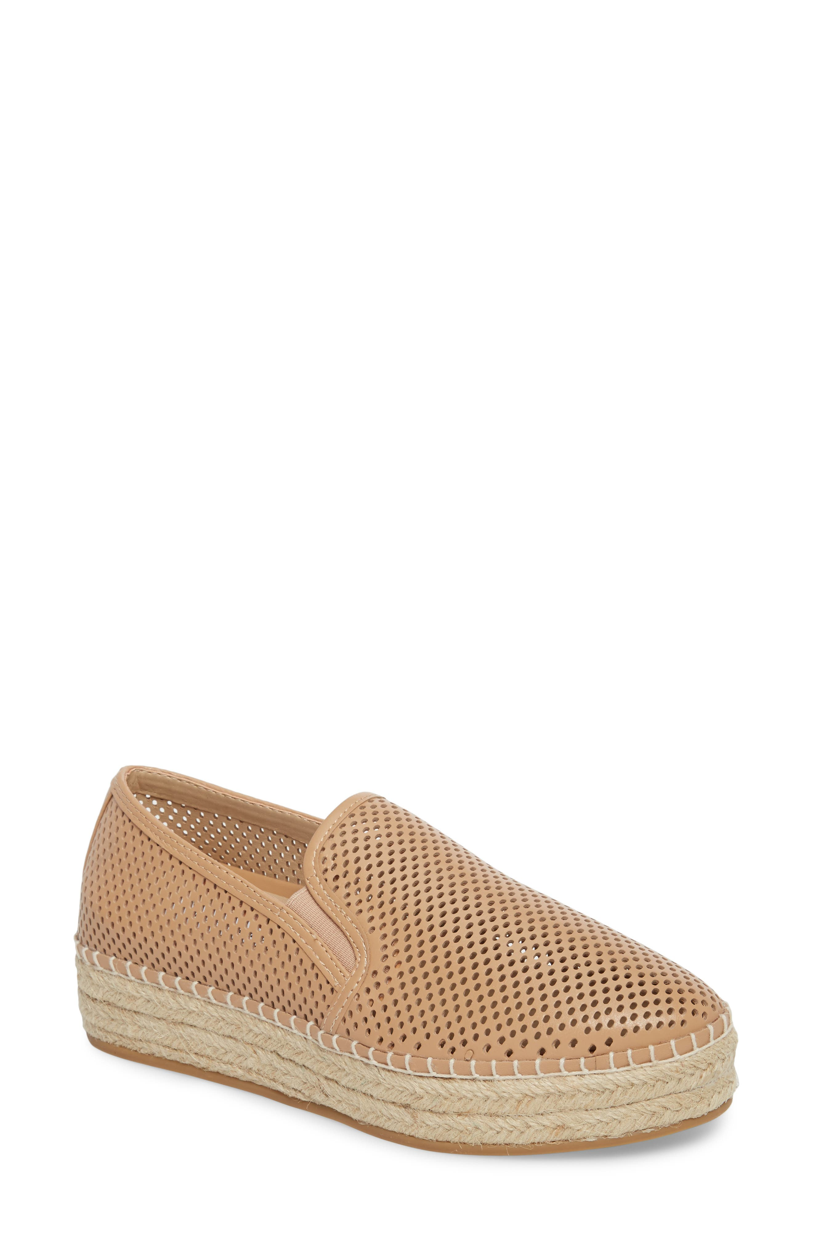 Wright Perforated Platform Espadrille,                             Main thumbnail 1, color,                             Natural Leather