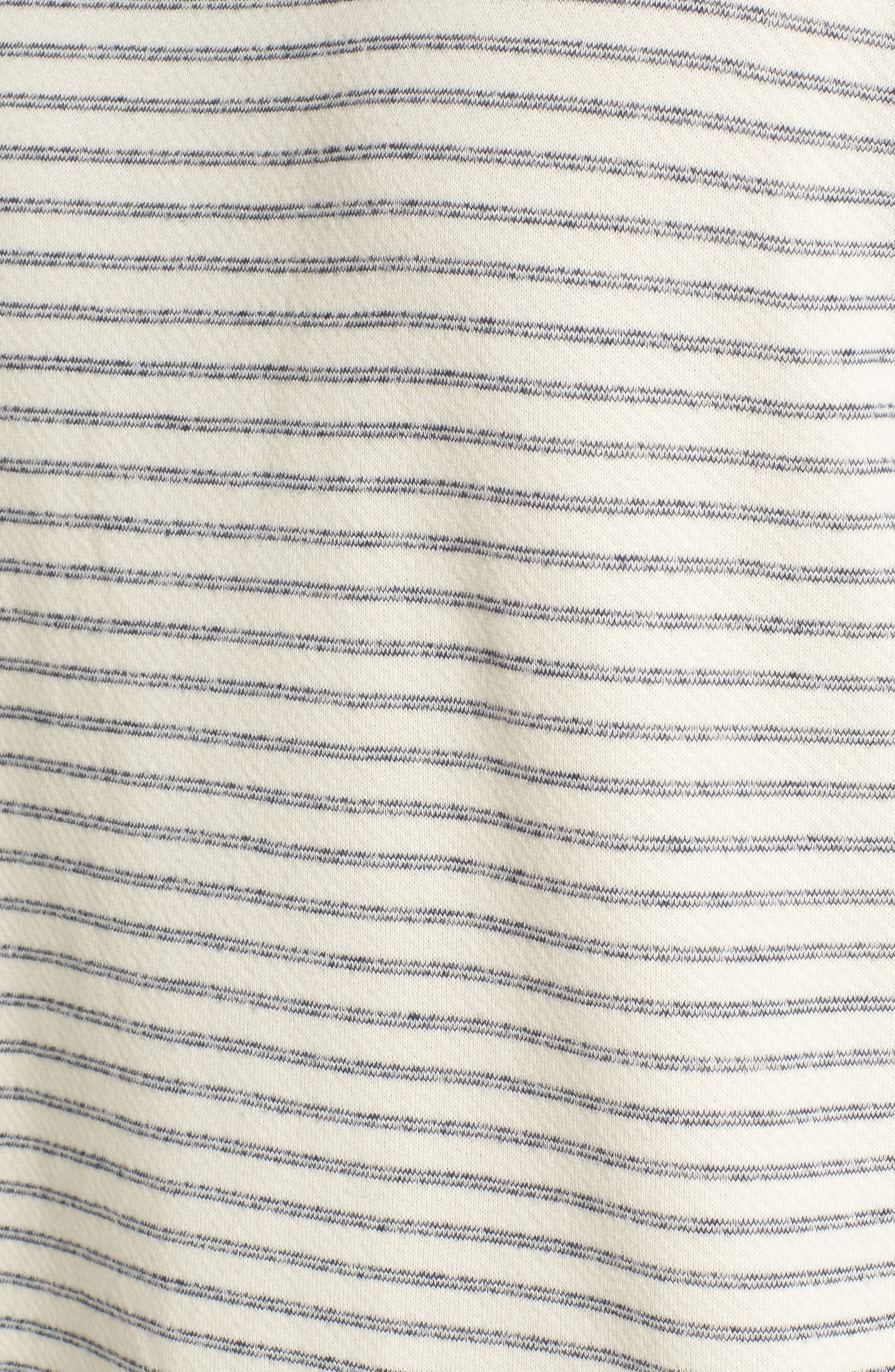 Dalton Stripe Terry Sweatshirt,                             Alternate thumbnail 5, color,                             White/ Navy Stripe
