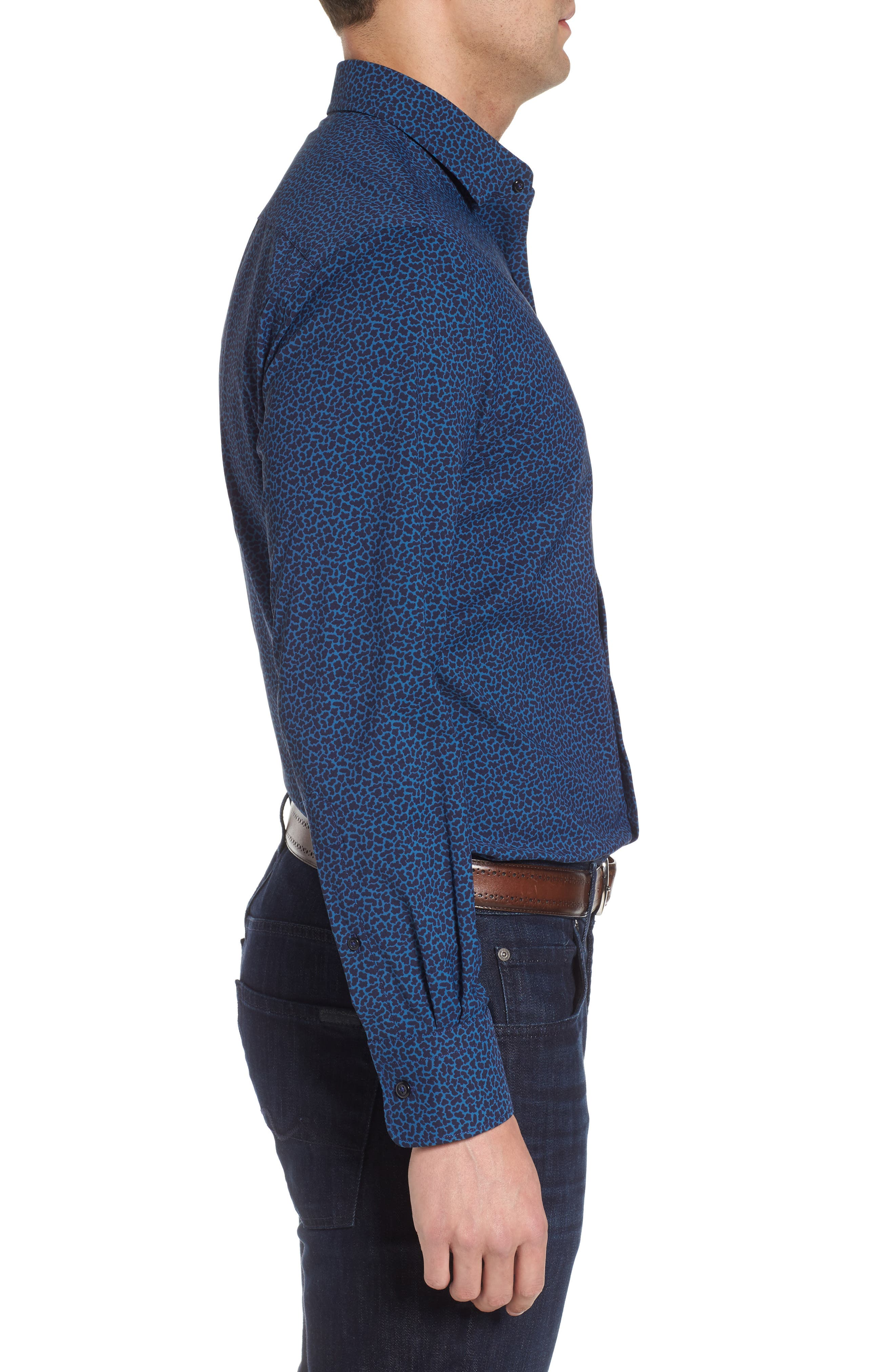 Townson Regular Fit Mini Camo Performance Sport Shirt,                             Alternate thumbnail 3, color,                             Yankee Blue
