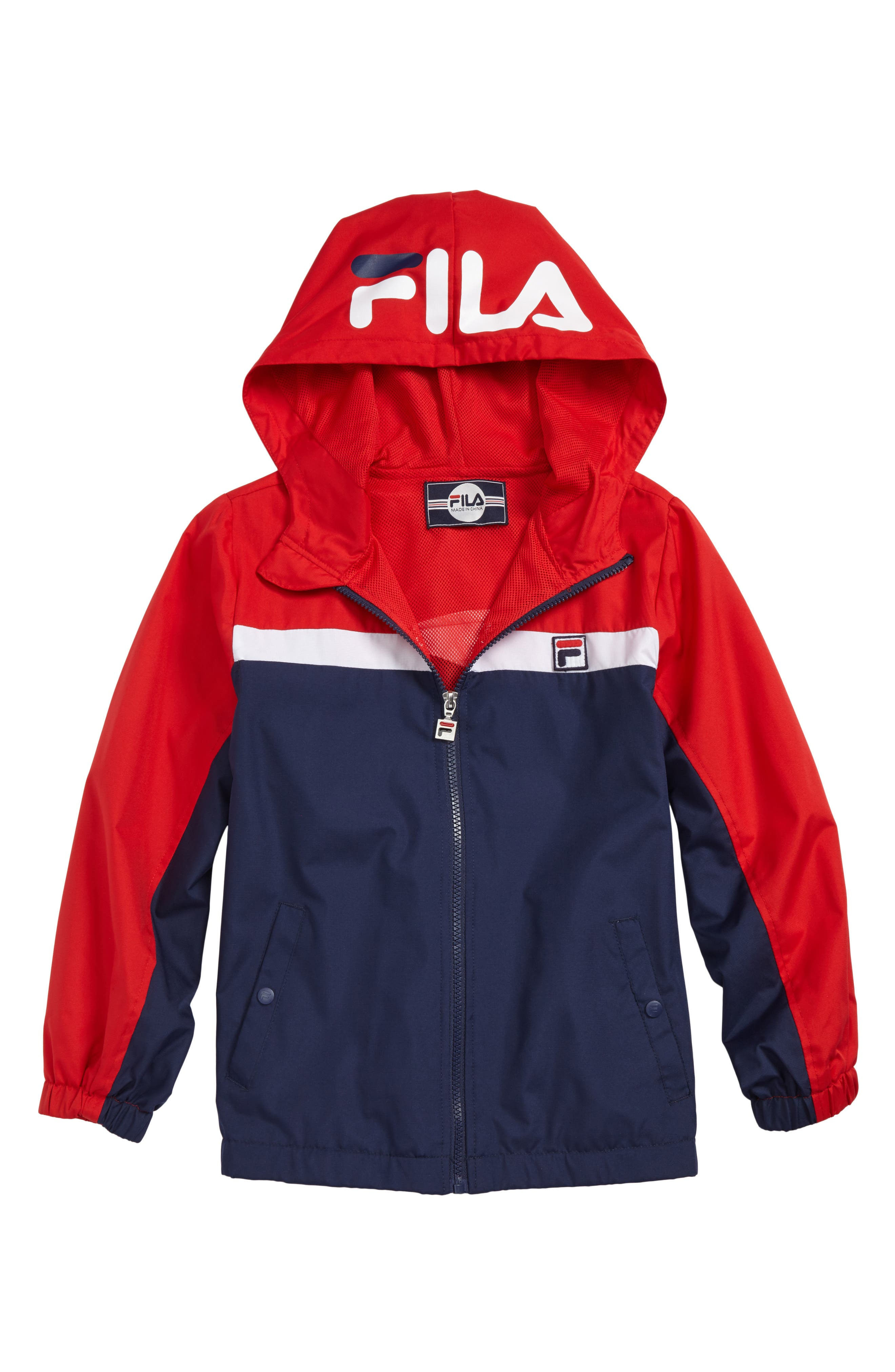 Colorblock Hooded Windbreaker,                         Main,                         color, Navy/ Red/ White