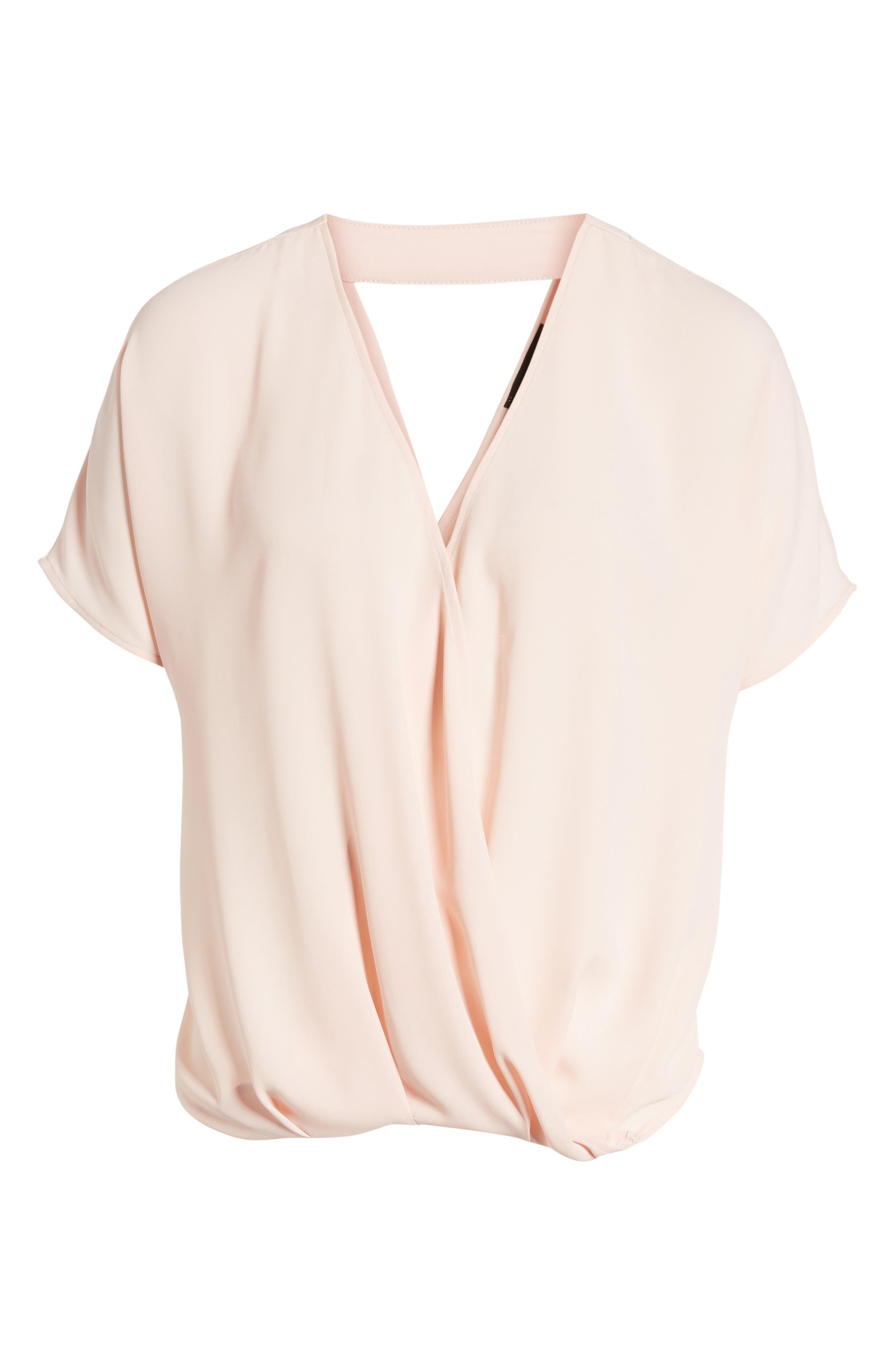 Surplice Top,                             Alternate thumbnail 6, color,                             Pink Peach