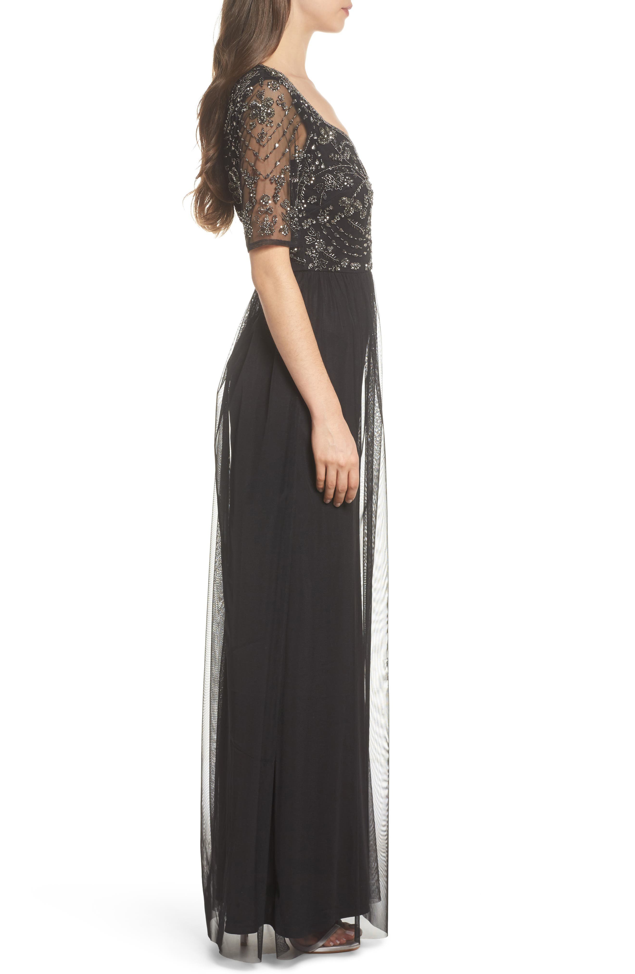 Beaded Bodice Tulle Gown,                             Alternate thumbnail 3, color,                             Black