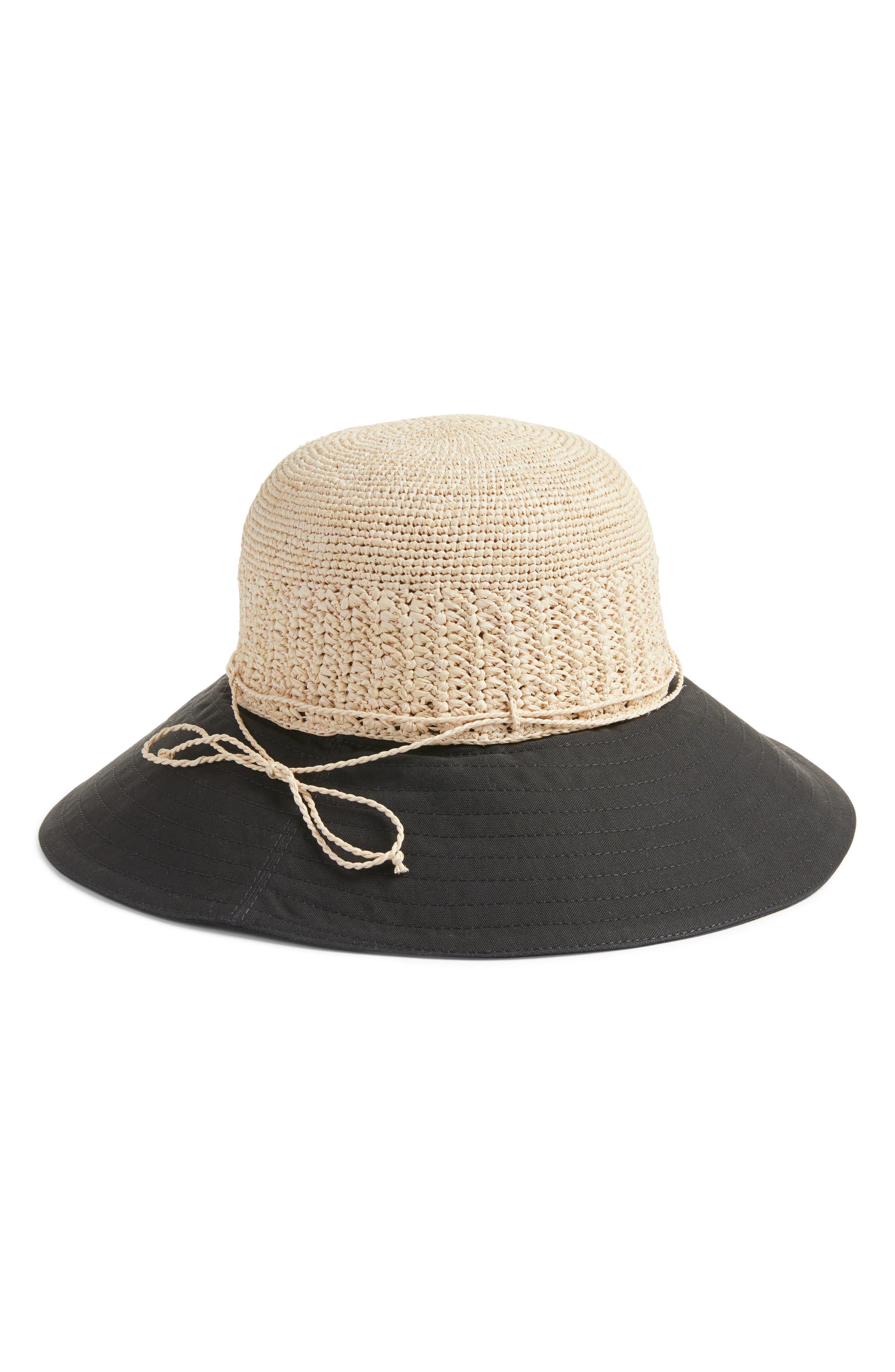 Helen Kaminski Raffia & Canvas Hat
