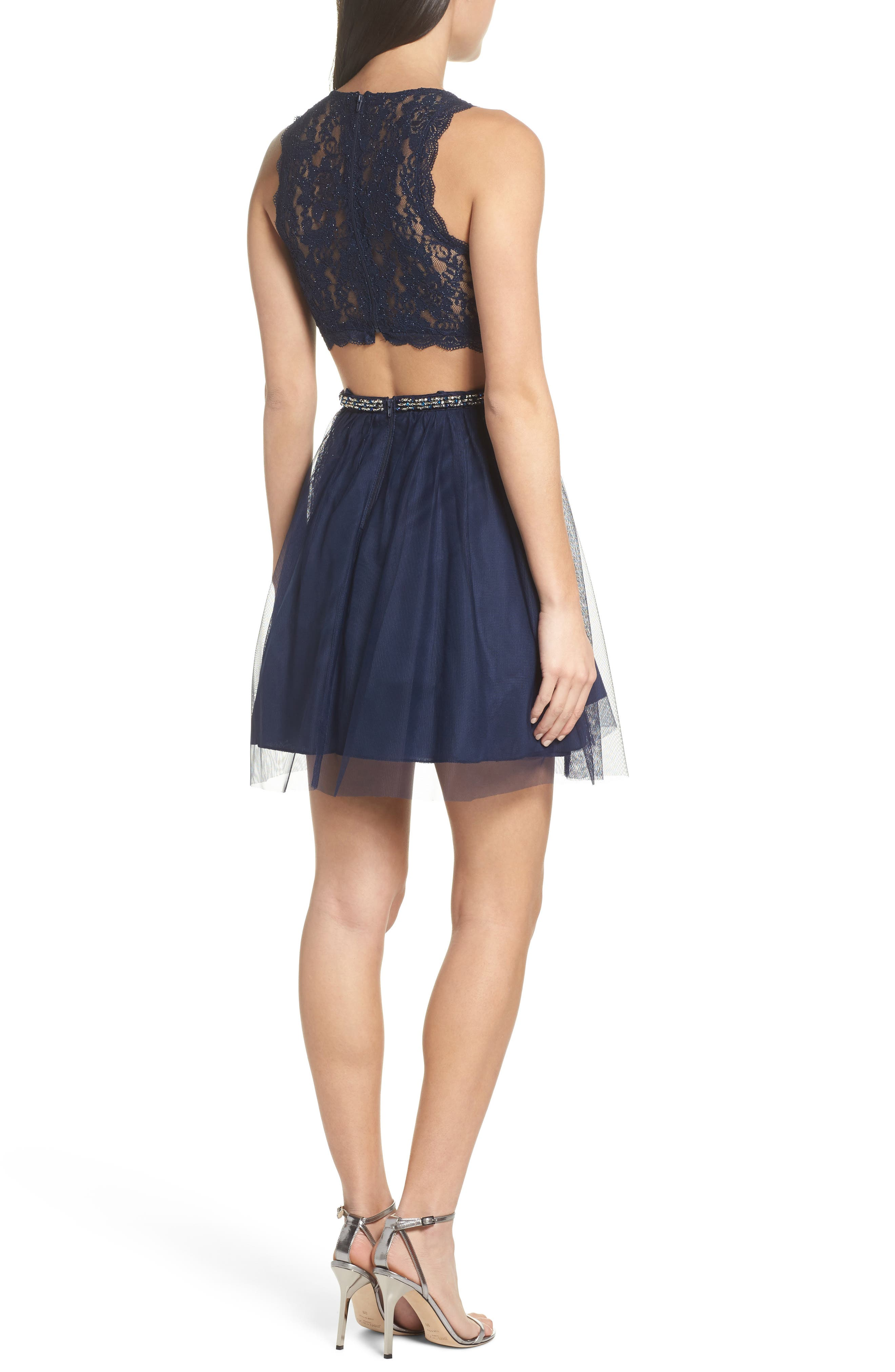 Glitter Lace Fit & Flare Dress,                             Alternate thumbnail 2, color,                             Navy