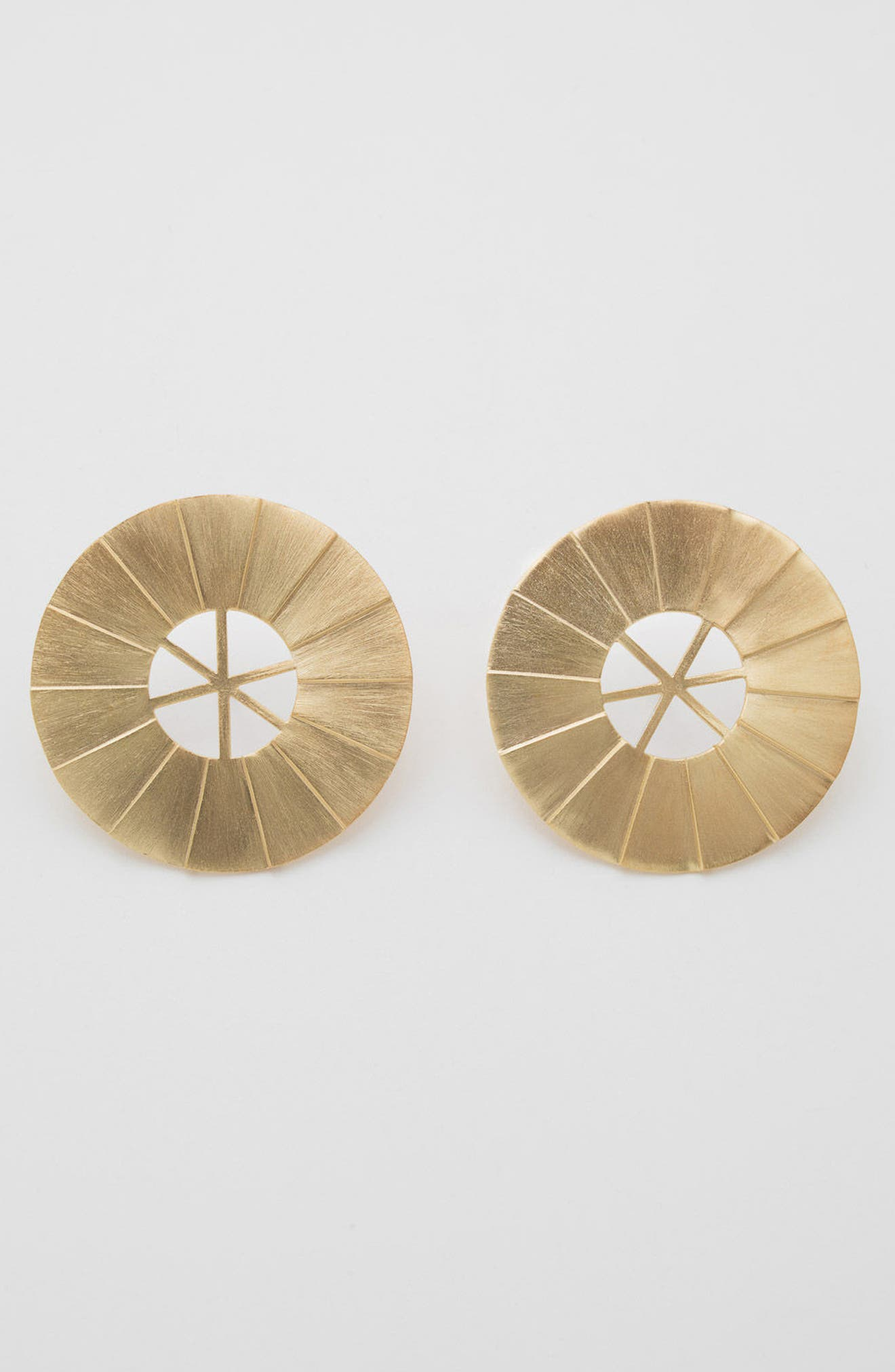 Windmill Brushed Vermeil Statement Earrings,                             Alternate thumbnail 3, color,                             Brushed Vermeil