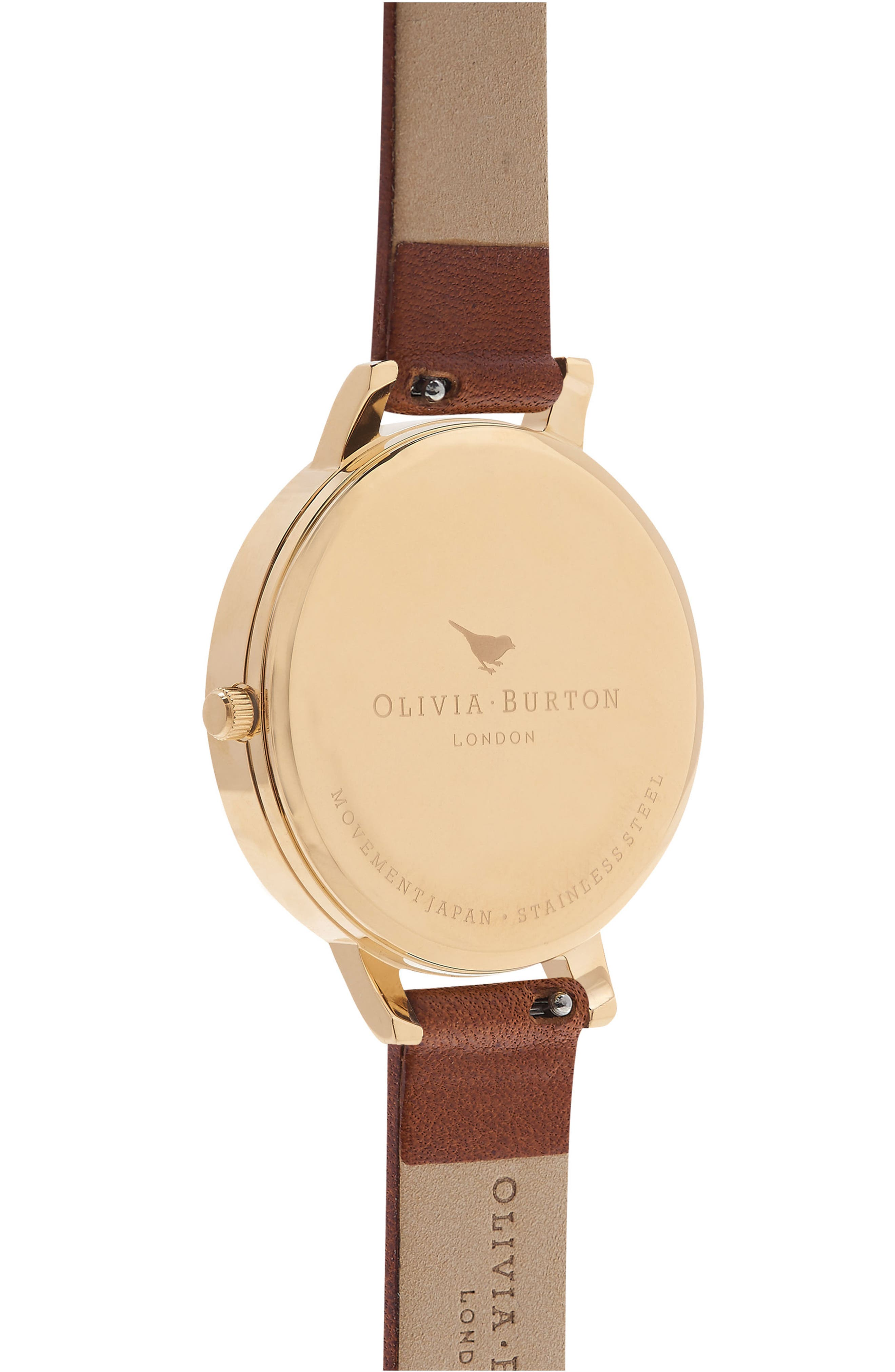Enchanted Garden Leather Strap Watch, 38mm,                             Alternate thumbnail 3, color,                             Tan/ White Floral/ Gold