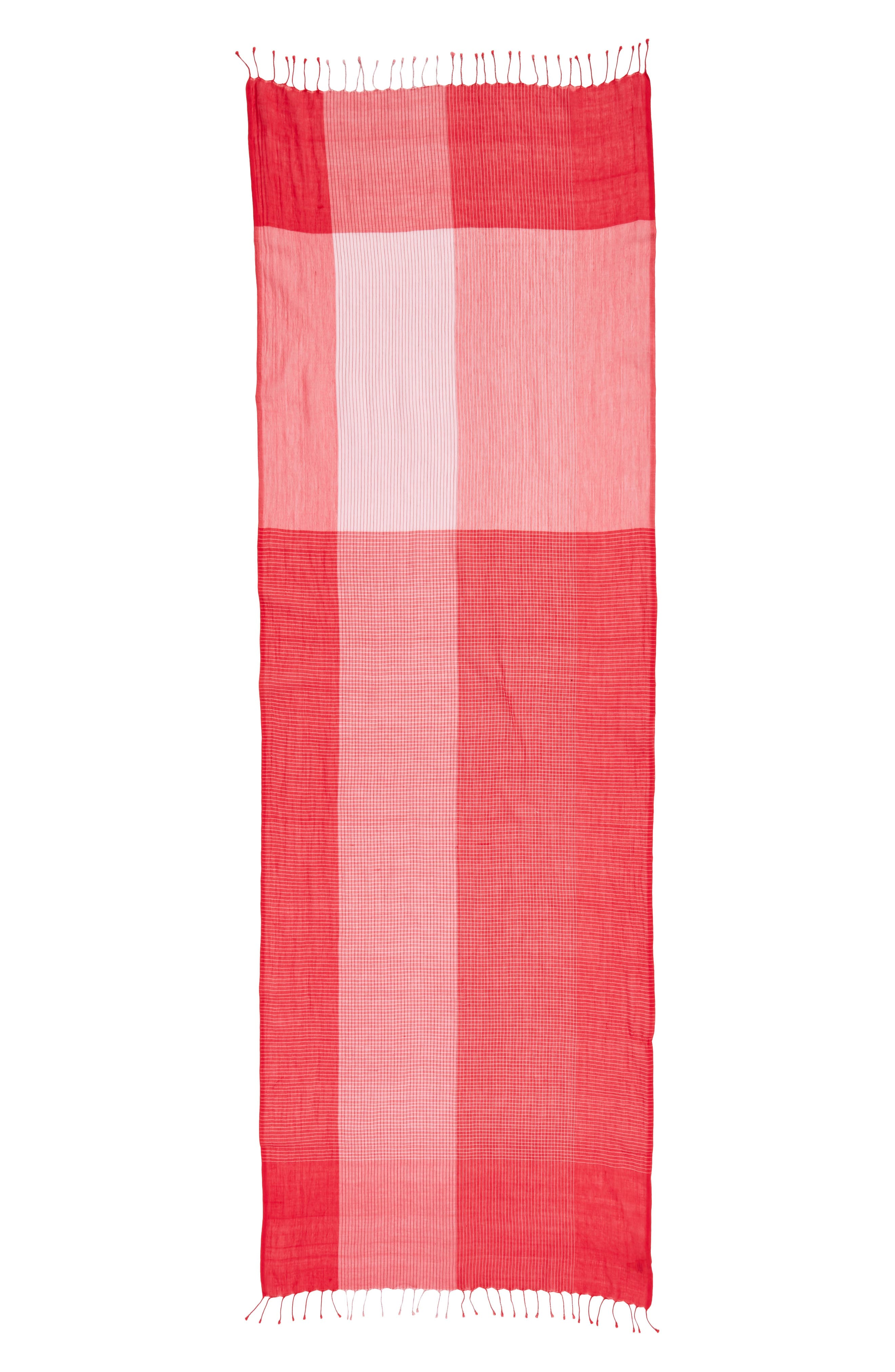 Colorblock Organic Cotton Scarf,                             Alternate thumbnail 3, color,                             Strawberry