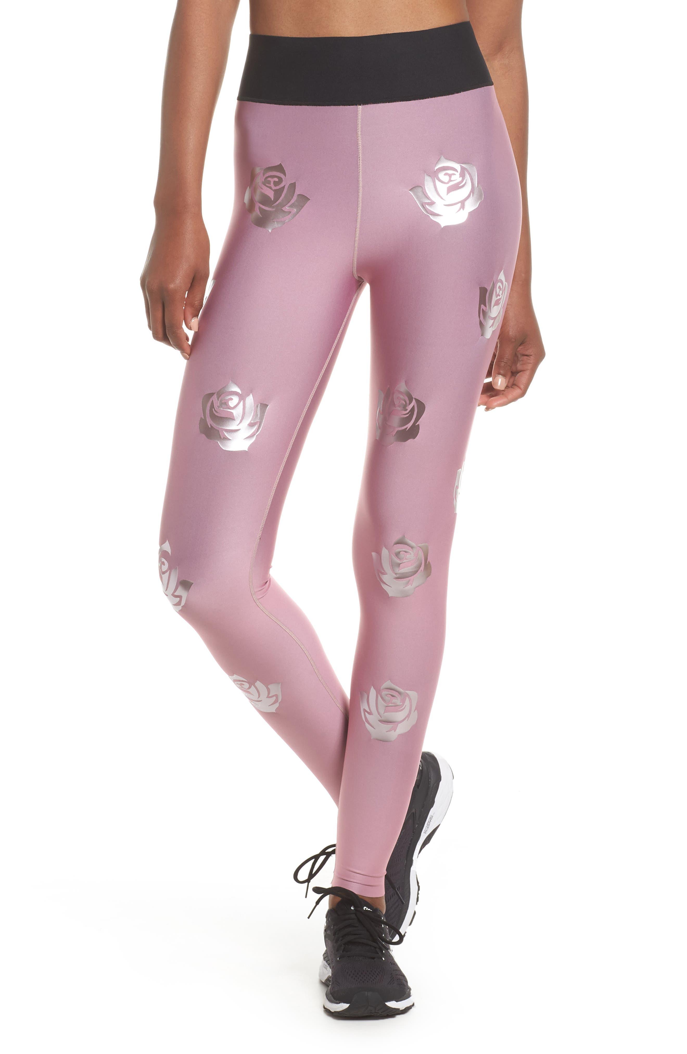 Rosette Print Ultra High Waist Leggings,                         Main,                         color, Rose