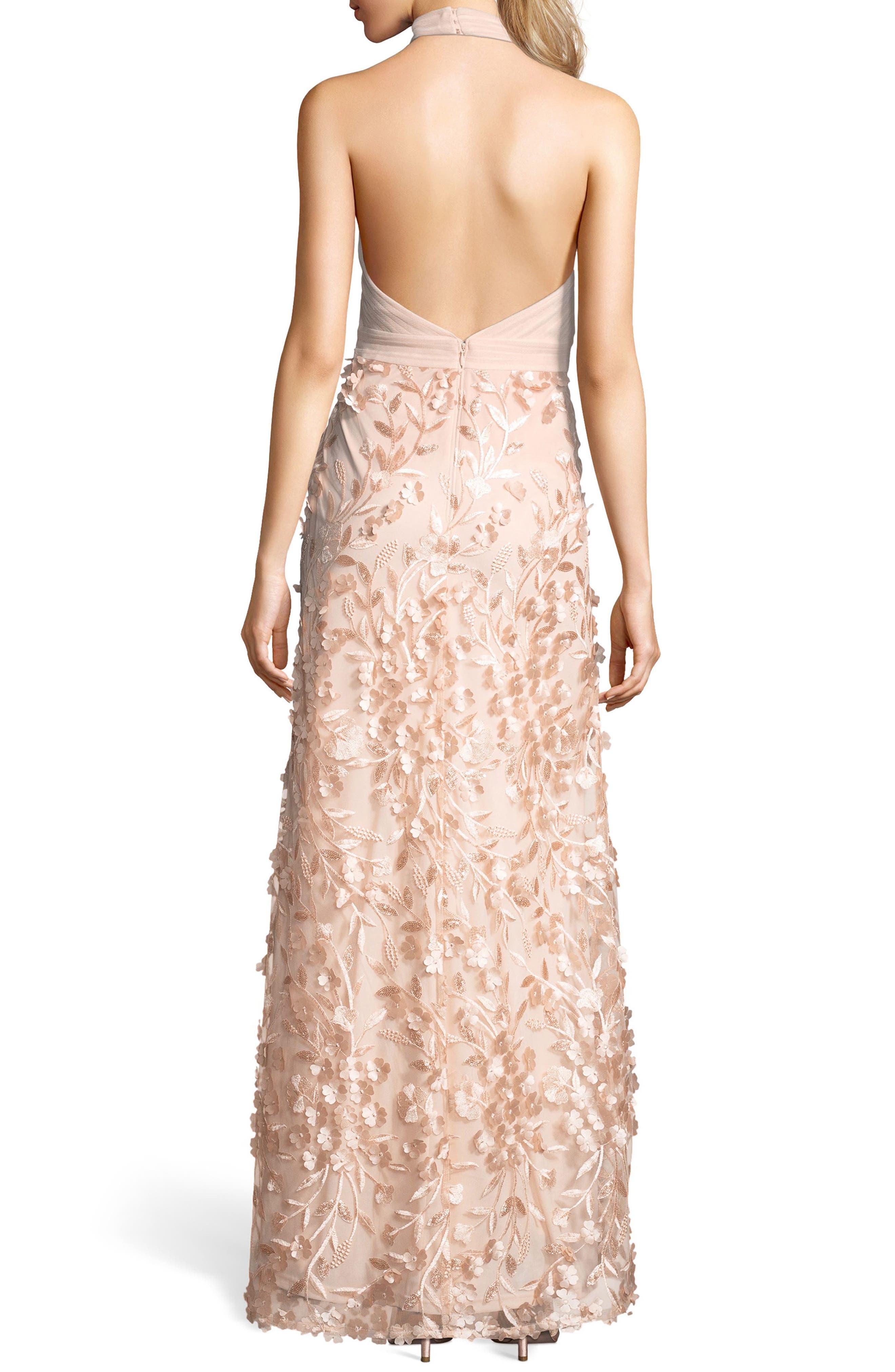 Petal Tulle Halter Gown,                             Alternate thumbnail 2, color,                             Blush