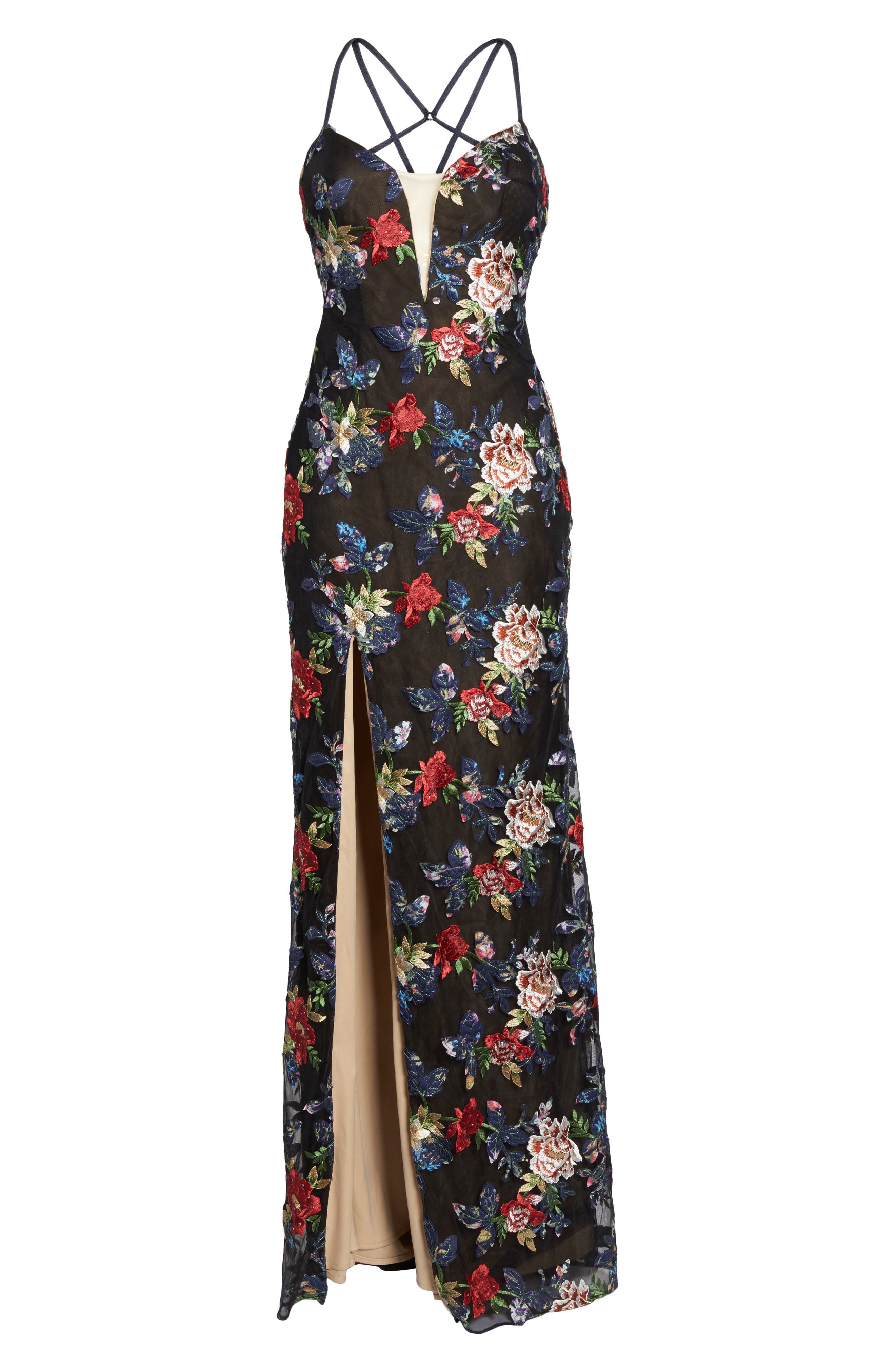 Floral Embroidered Gown,                             Alternate thumbnail 5, color,                             Multi