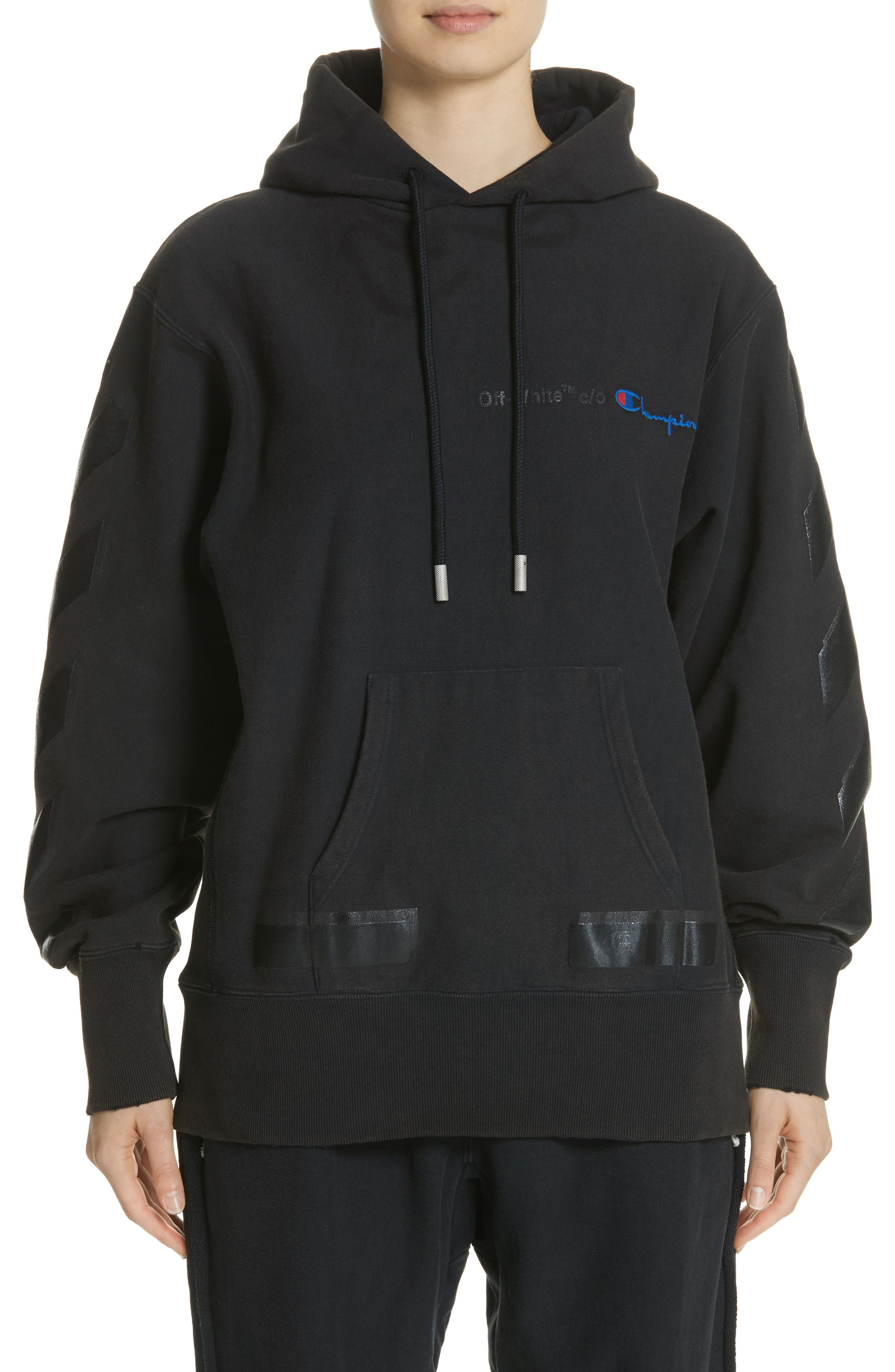x Champion Pullover Hoodie,                         Main,                         color, Black/ Black
